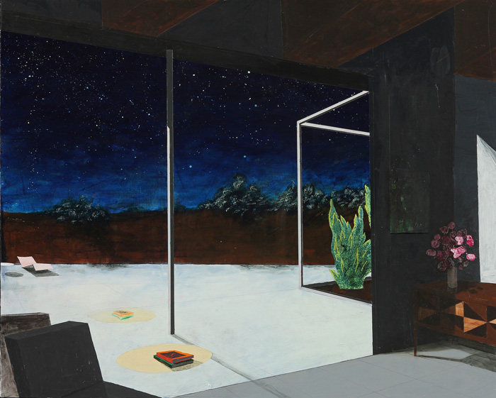 Erik Parra   Picture Window Nocturne  (2016) Acrylic, marker and spray paint on panel, 30 x 24in.
