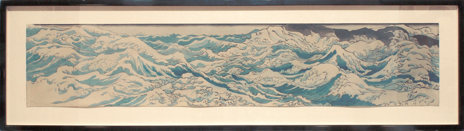 Masami Teraoka   Waves and Rocks  (1986) Watercolor on paper, 60 x 12in.