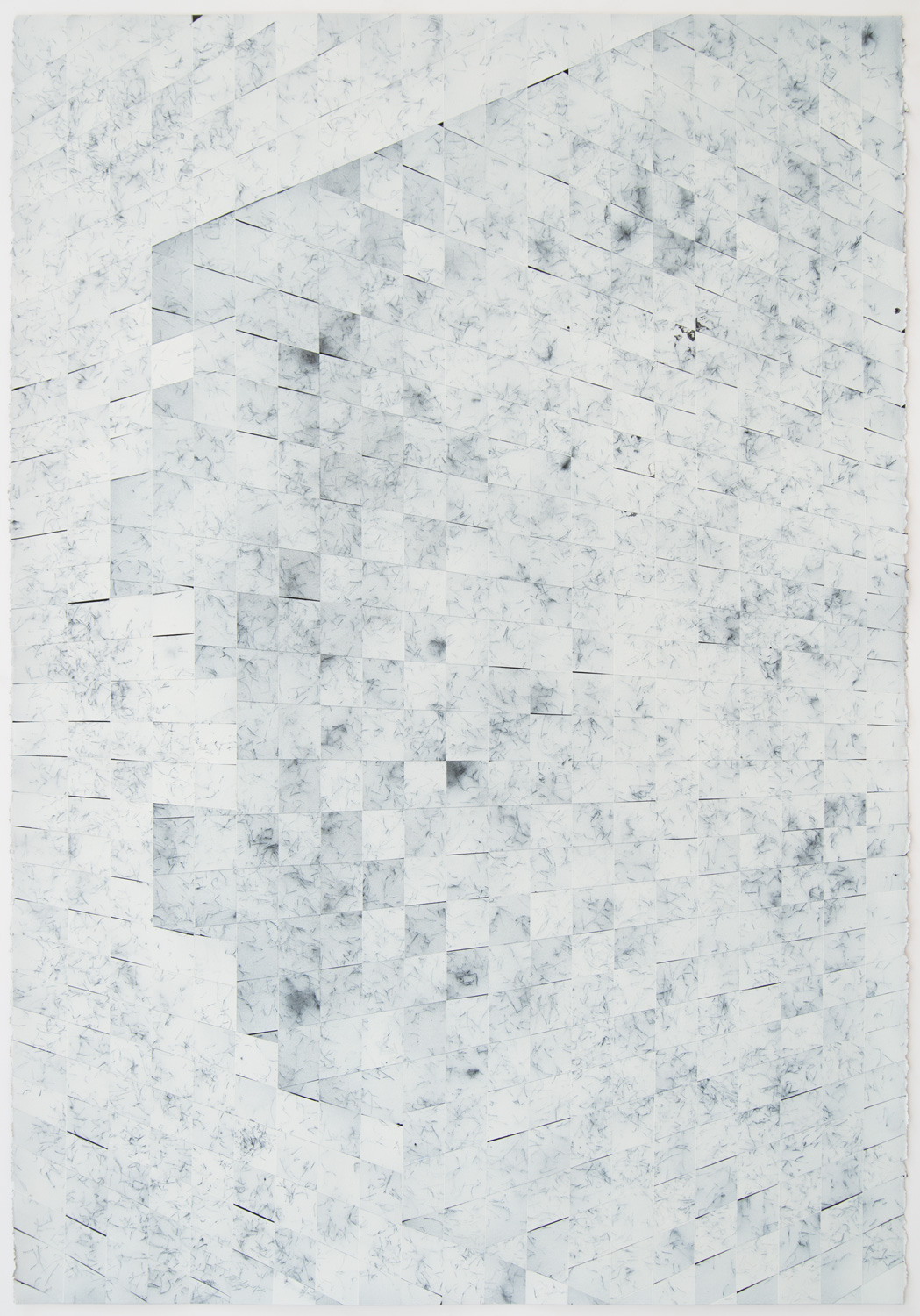 Danny Jauregui   MisRemembered Structure #14  (2015) Acrylic, enamel, and human hair on paper, 30 x 44in.