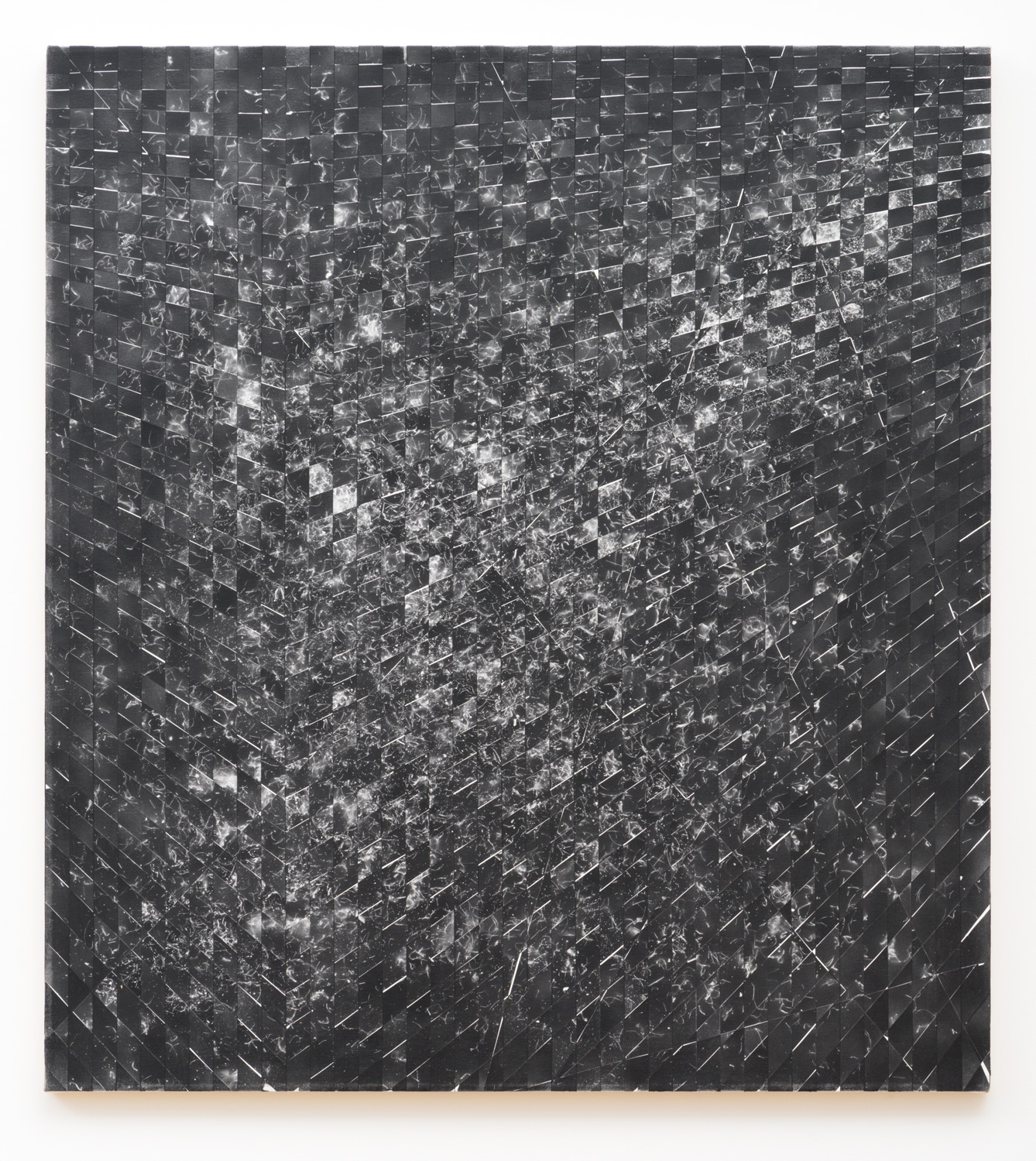 Danny Jauregui   MisRemembered Structure #3  (2016) Enamel and human hair on canvas, 38 x 42in.