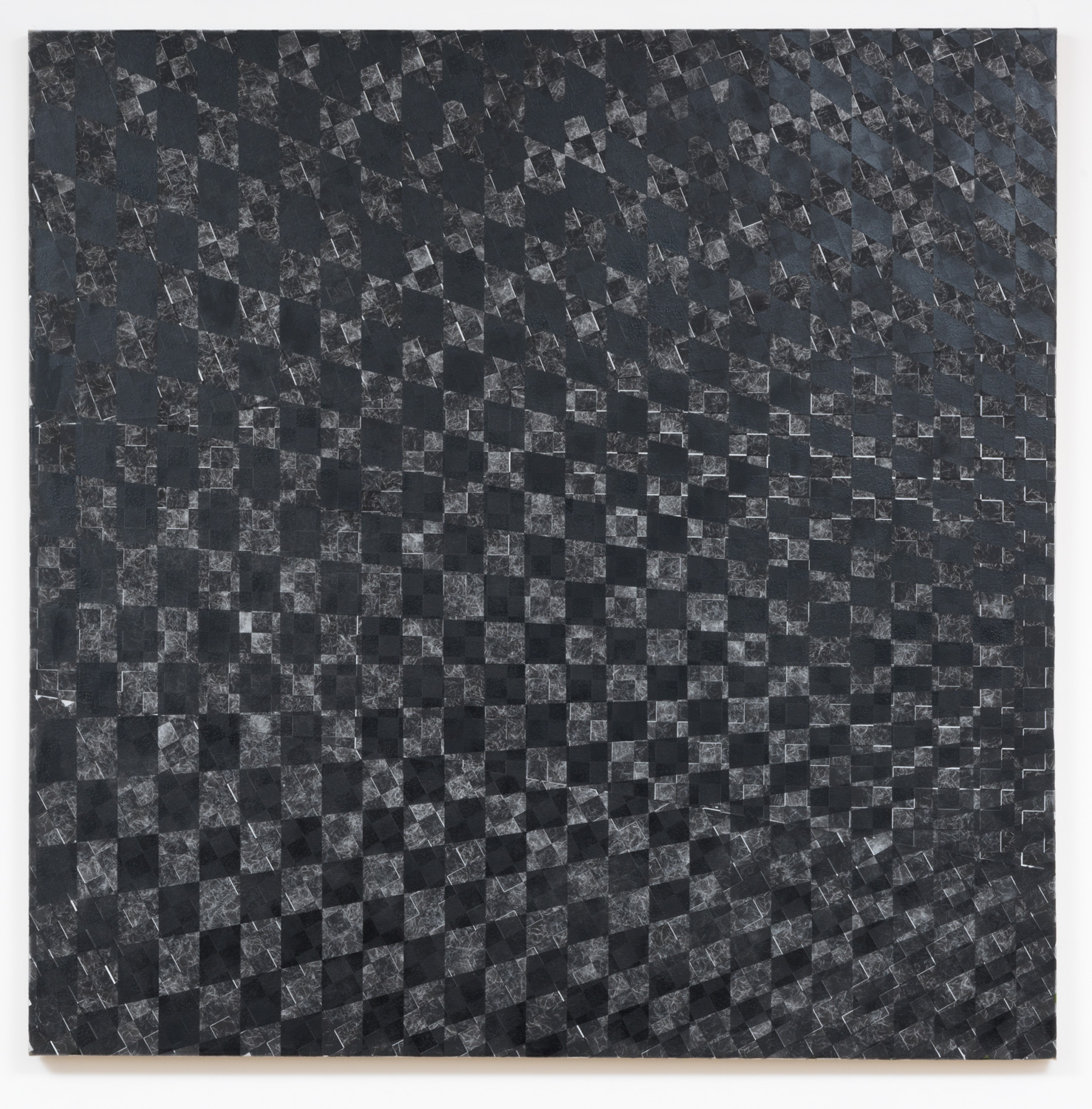 Danny Jauregui   Untitled 9  (2015) Enamel and human hair on canvas, 48 x 48in.