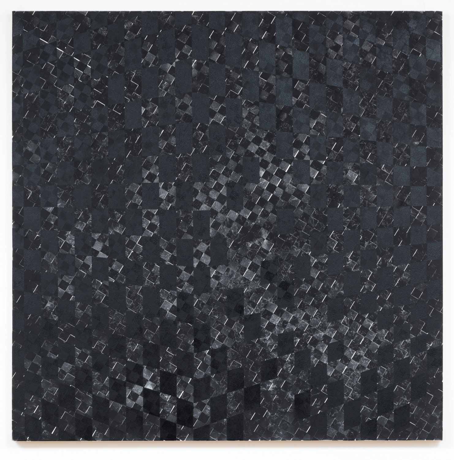 Danny Jauregui   Untitled 8  (2015) Enamel and human hair on canvas, 48 x 48in.