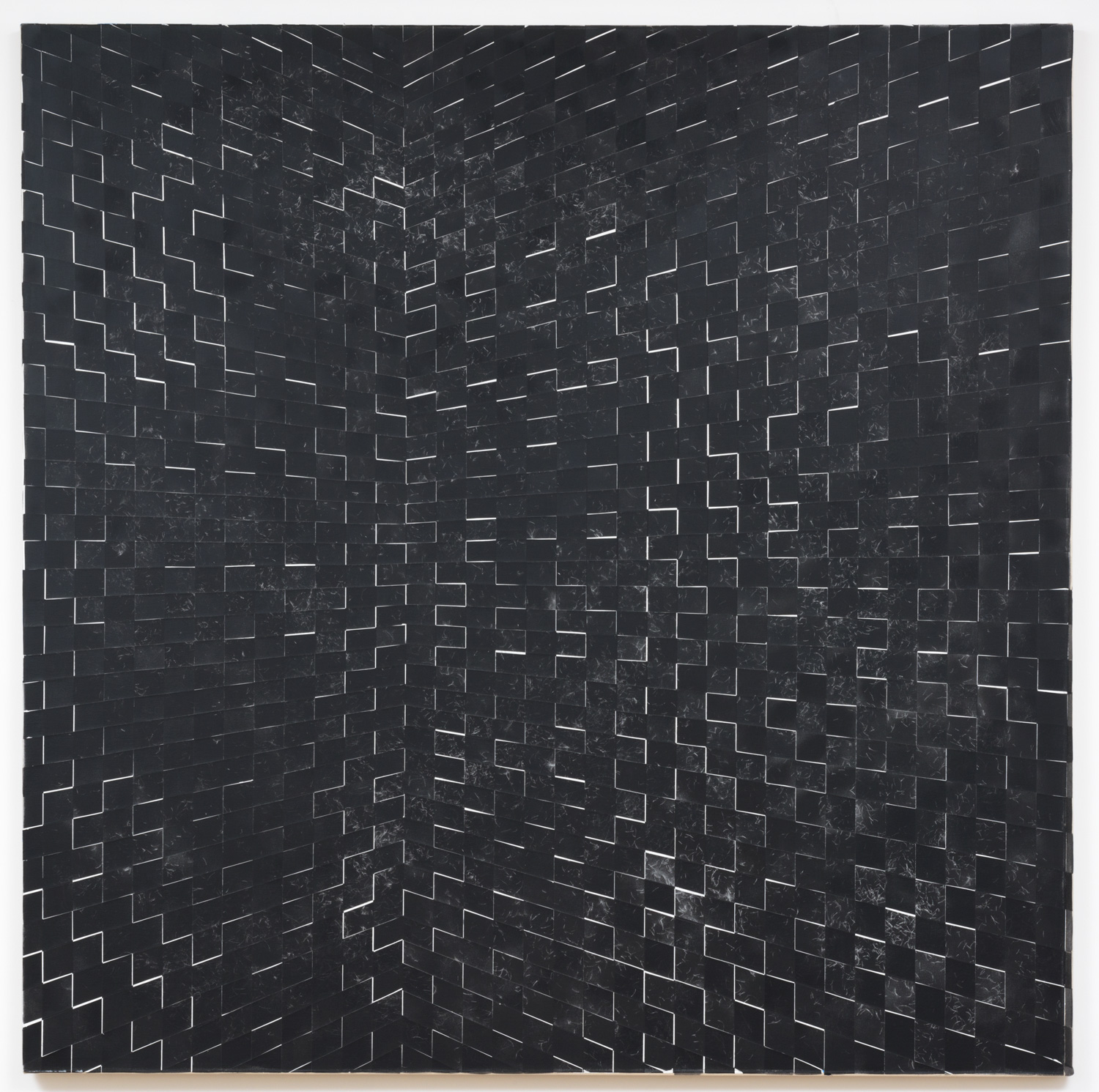 Danny Jauregui   Untitled 7  (2015) Enamel and human hair on canvas, 60 x 60in.