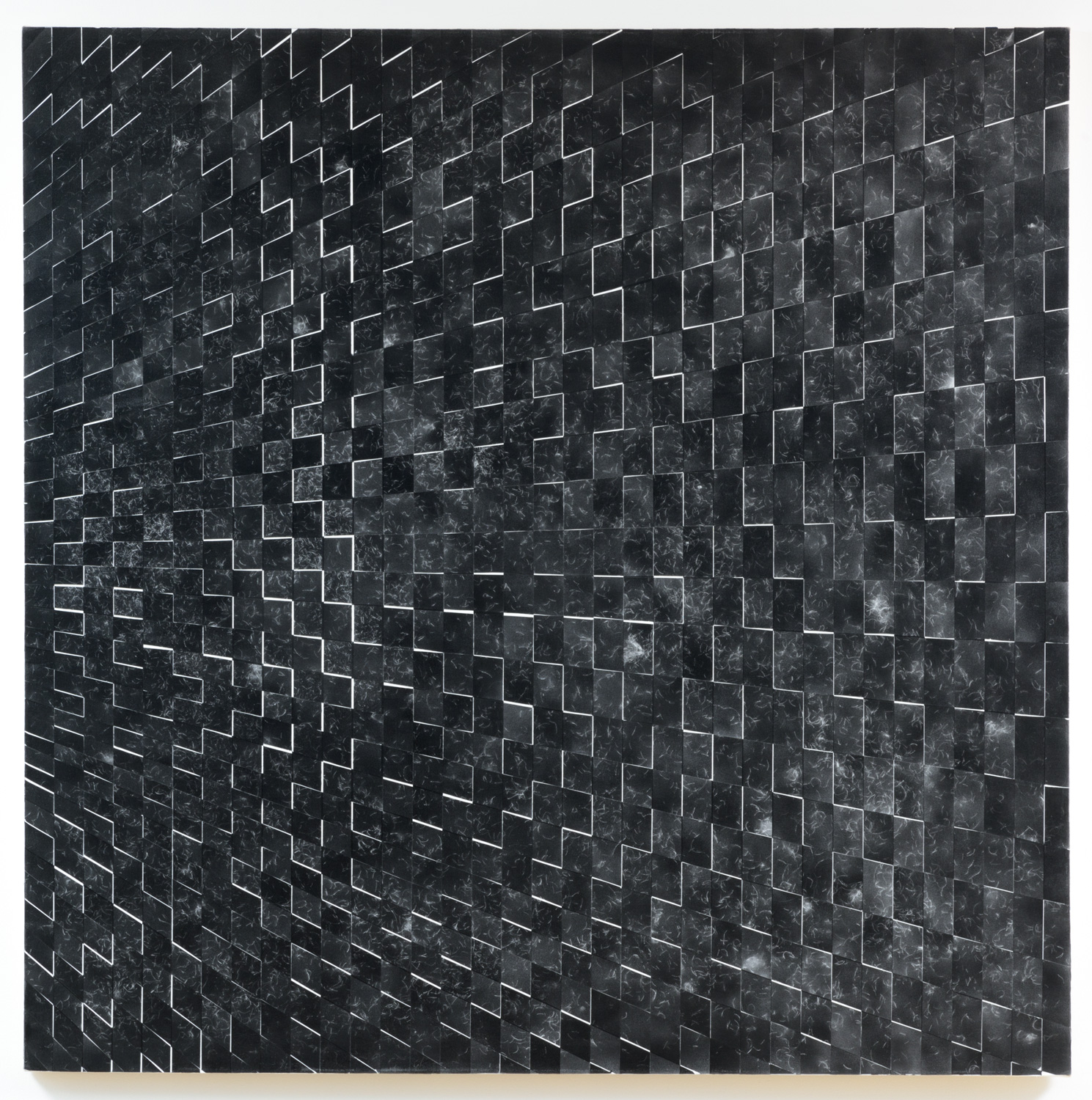 Danny Jauregui   Untitled 6  (2015) Enamel and human hair on canvas, 60 x 60in.