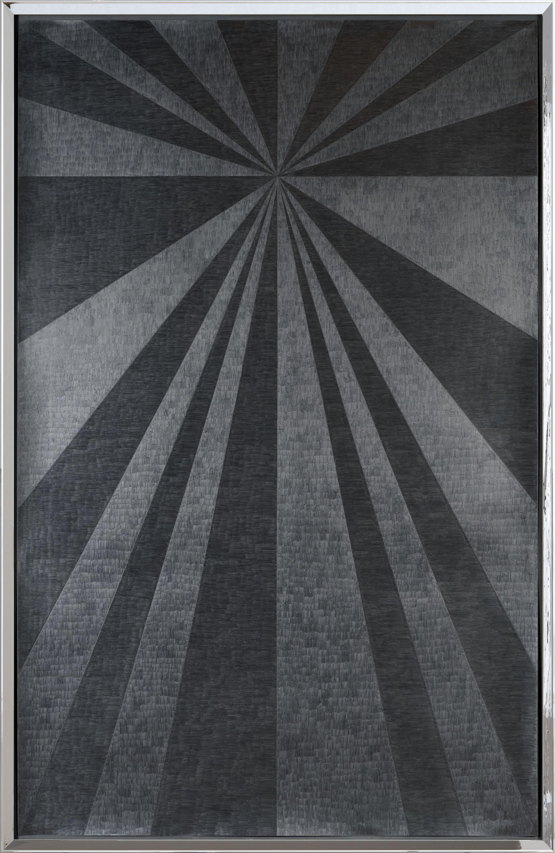 Jenene Nagy   heavy sunshine 2  (2017) Graphite on paper in artist made chromed frame, 43.5 x 68.5in.