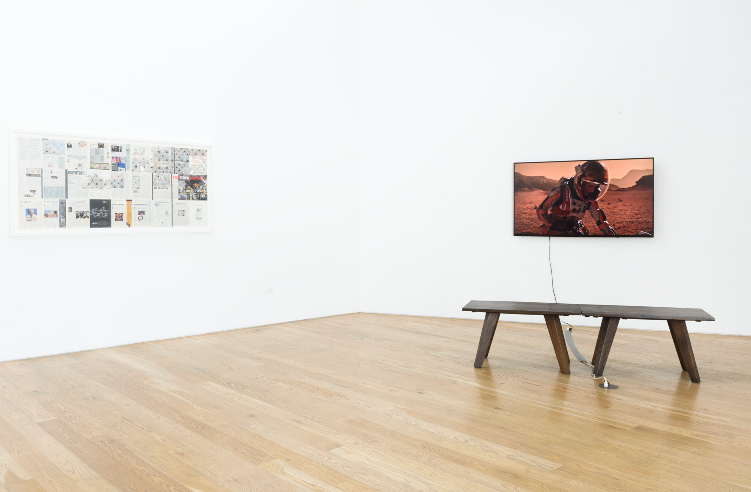 Left:  Samira Yamin , Installation view of  November 26, 2001  (2011) Time magazine, 76 x 36.25in.  Right : Maura Brewer   Surface of Mars  (2016) Singel-channel video, color, sound., 12:20 minutes