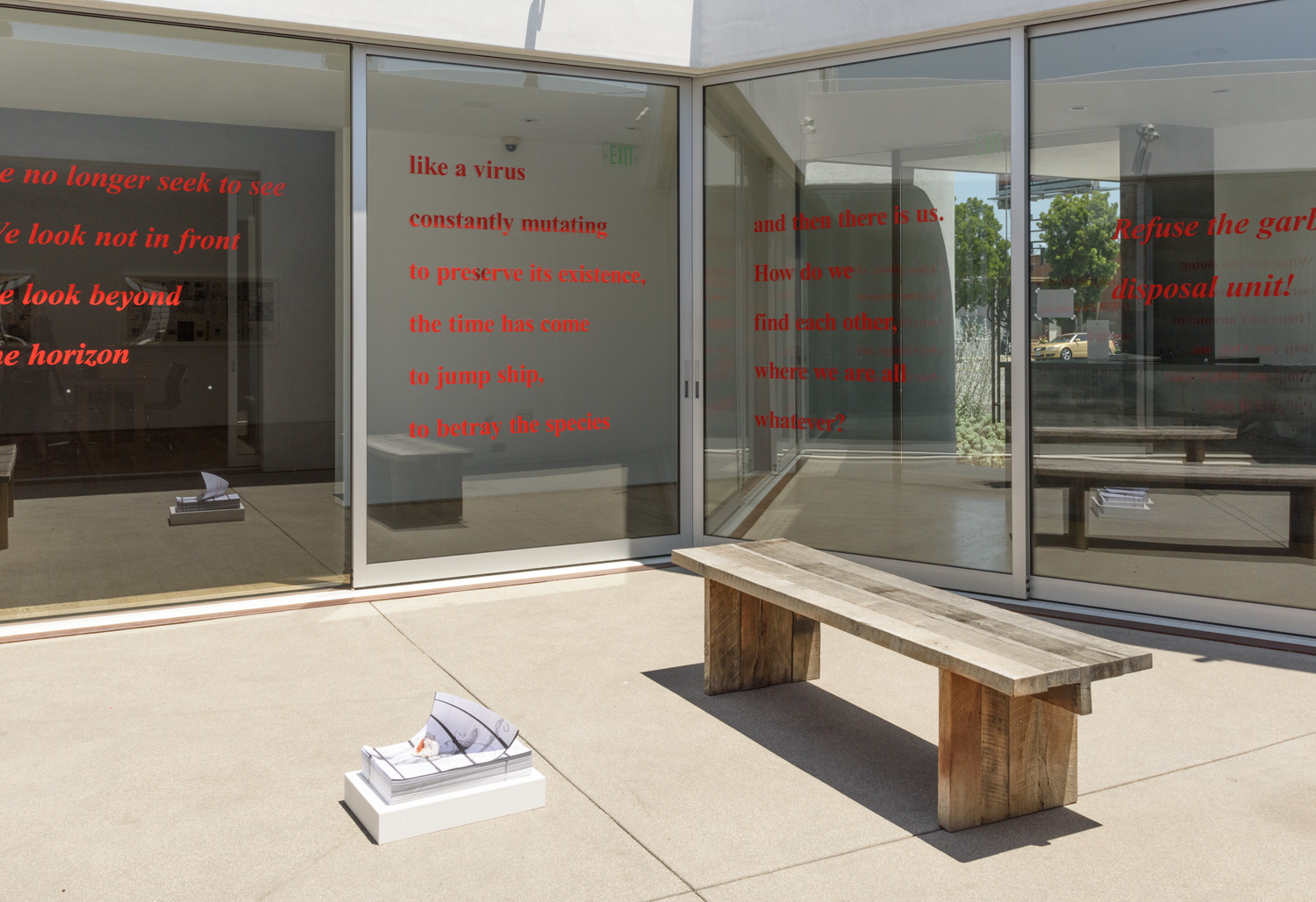 Juan Capistran   This text is the beginning of a plan. See you soon!  (2017) Site-specific installation, vinyl on glass (detail), dimensions variable