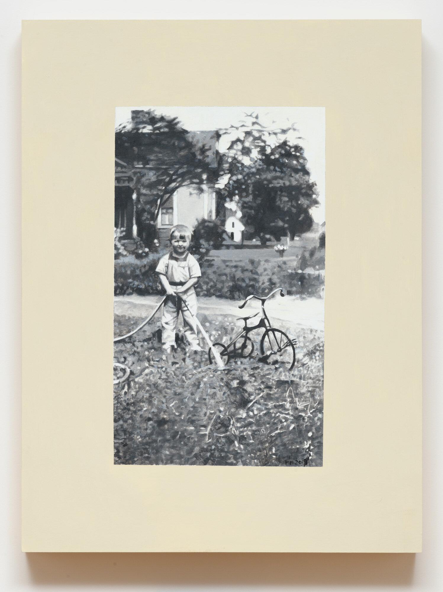 Martin Mull    Summer , 2018  Oil on Panel  24 x 18 x 2.25 in.