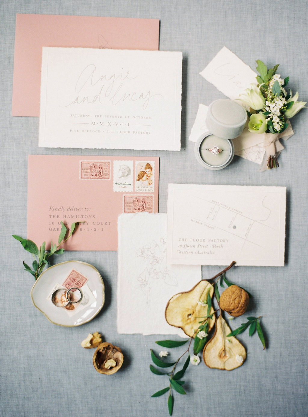 Aravella Event Design | Modern Minimalist Bridal Inspiration | Photo by Katie Grant Photography | Stationery Flatlay