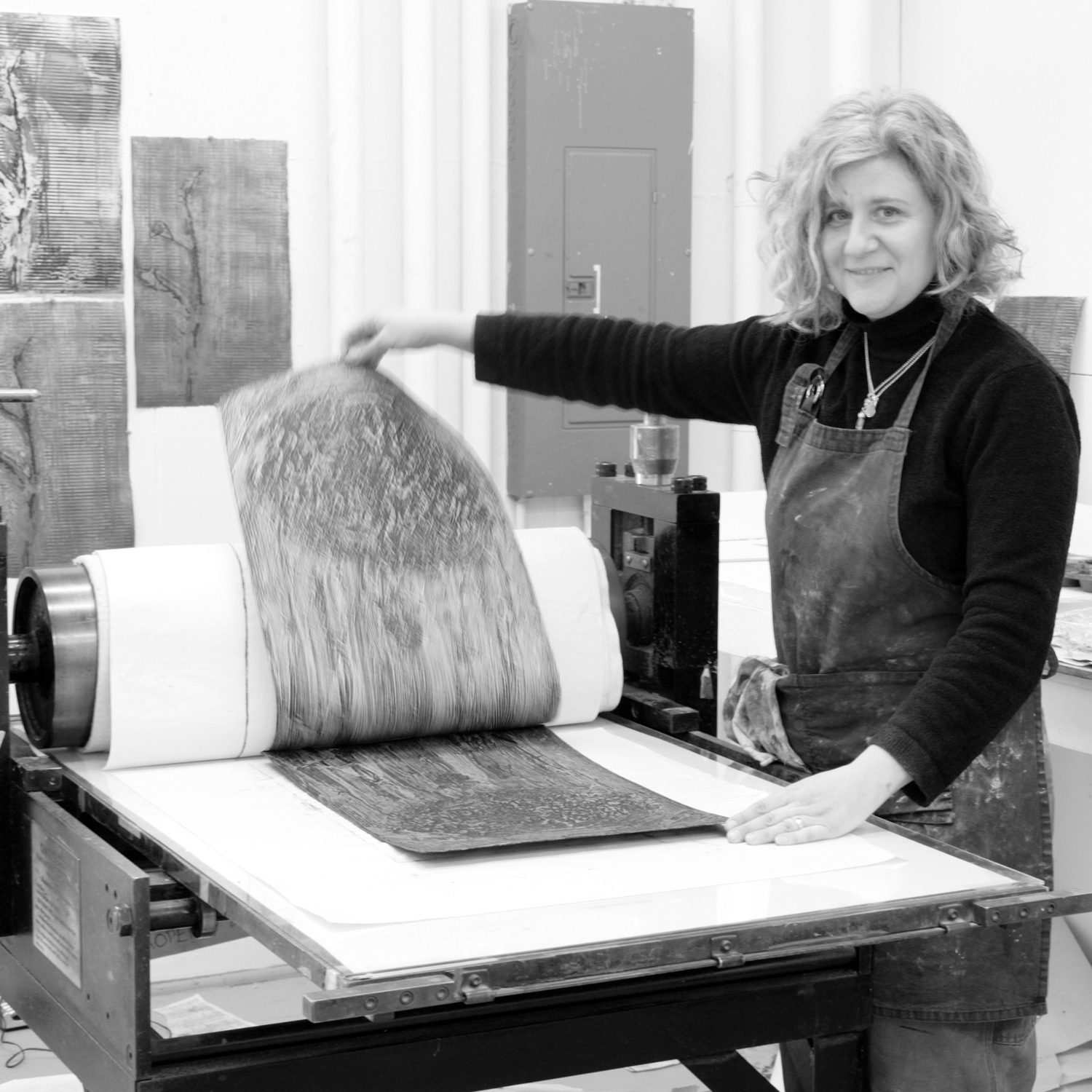 Dina Petrillo - Dina Petrillo is a sculptor, printmaker, and designer, She has been exhibiting and teaching in Mid-Coast Maine since she moved here from New York City in 2000. While teaching sculpture and printmaking at the Hutchinson Center, she opened the Post Office Studio Workshop in downtown Belfast for her artistic projects. Now a production print studio, the PO workshop has been the home of Belfast Bay Shade Company since 2012 where she designs and makes an extensive catalog of hand-printed botanical lampshades and home decor.