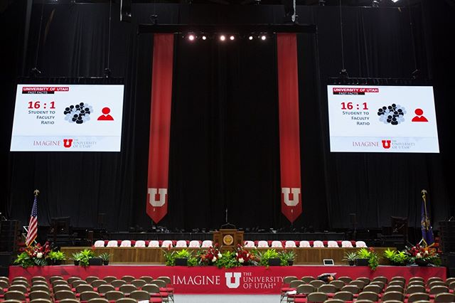 Happy first day back #universityofutah! Some of you may be ready for this already. - - - #graduationday #uofu #eventproduction #clearlampav