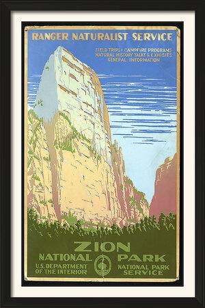 Zions National Park Vintage Poster Vintage Poster Art 11 X 17