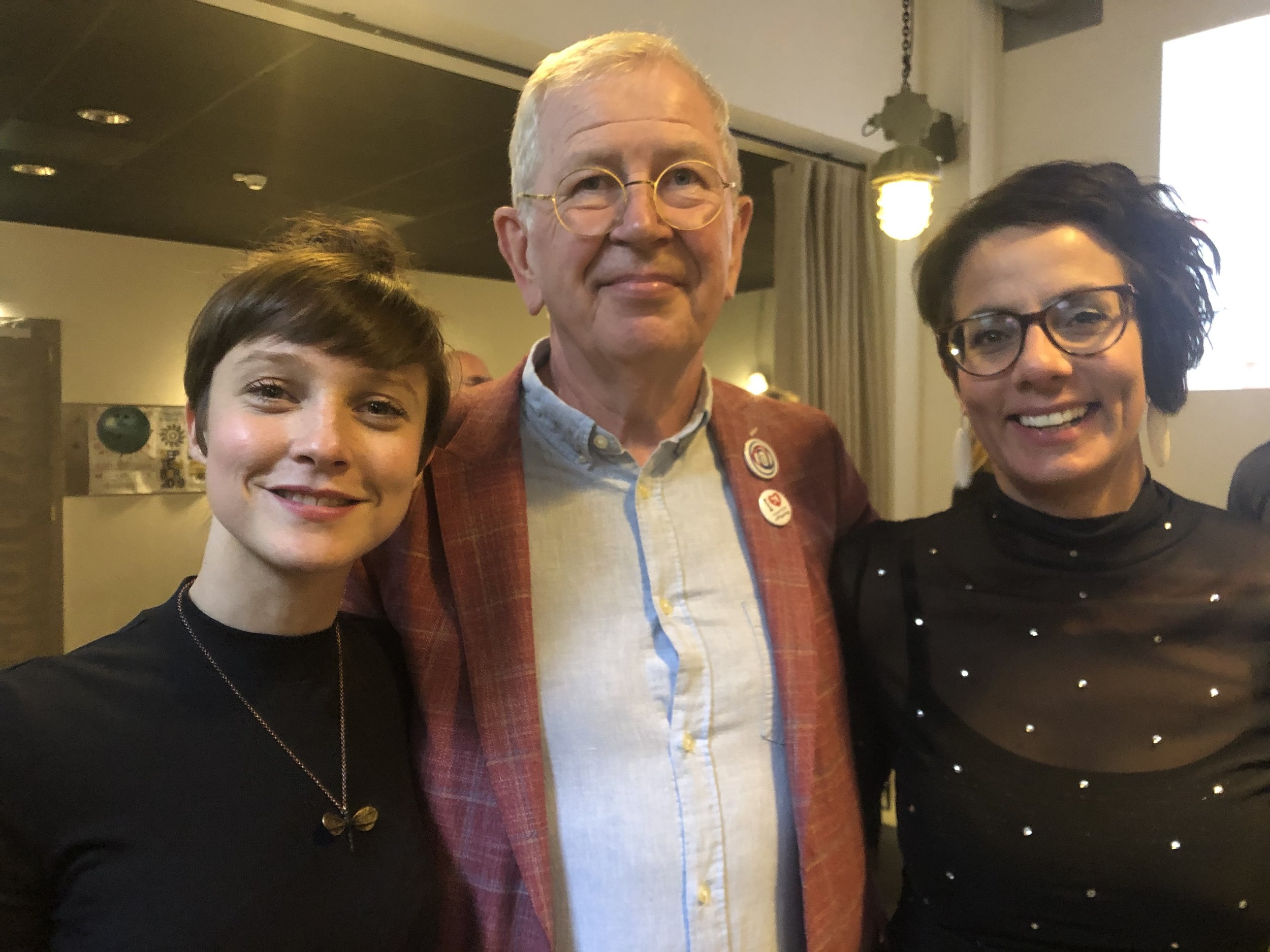 Composer Genevieve Murphy, commissioner Charles Davidson, and Claire Edwardes from Ensemble Offspring