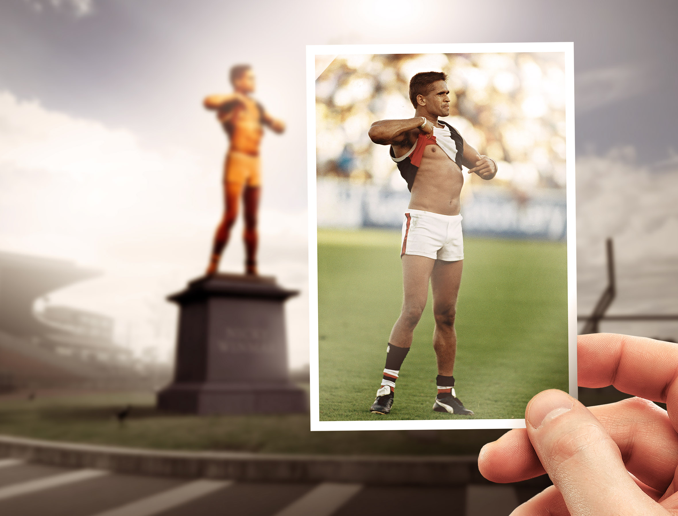 The original image of Nicky captured by Wayne Ludbey, sitting in front of the mock-up of the statue that we proposed.