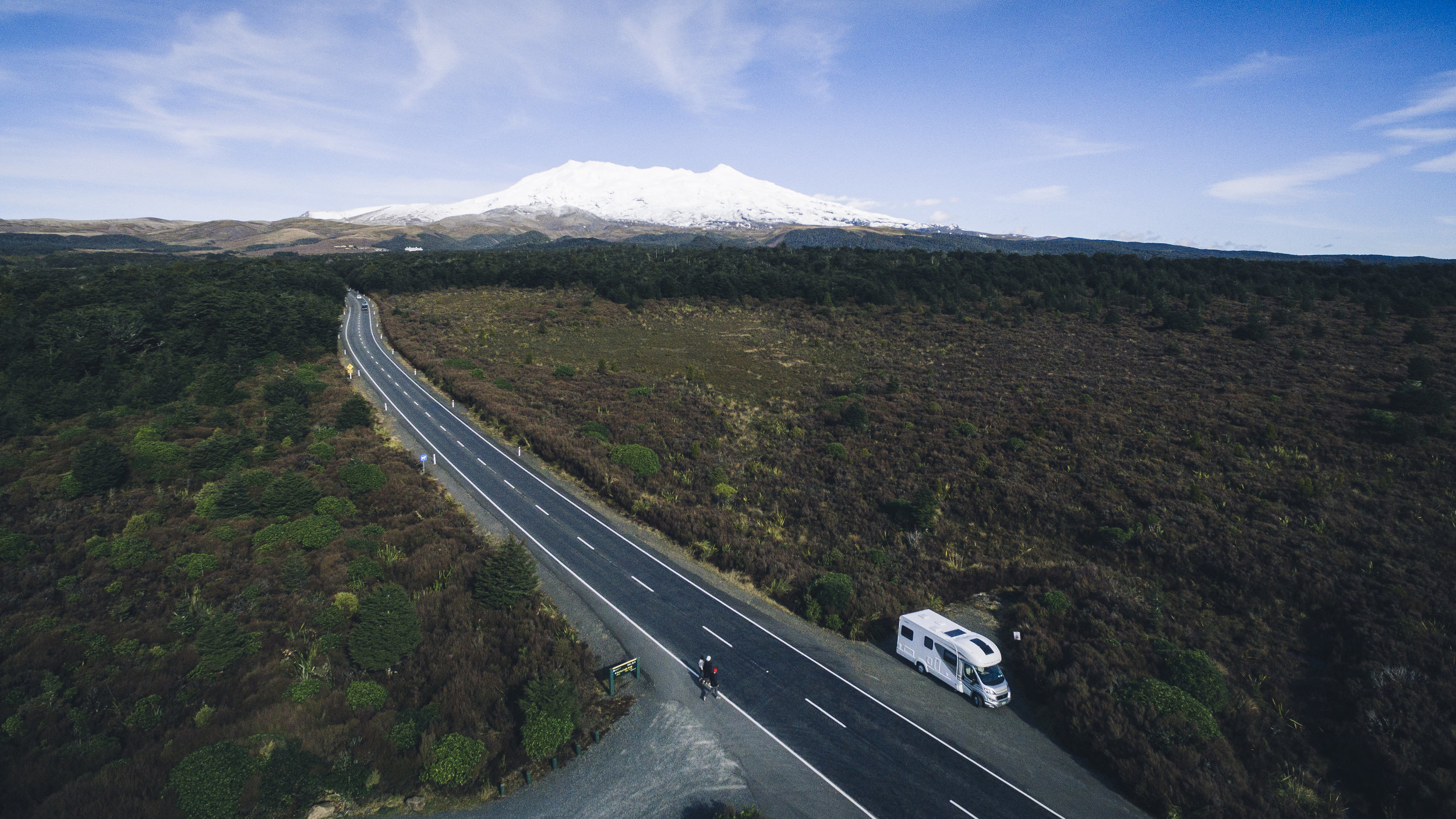 Sunrise Takapu campervan and Mt Ruapehu on the beautiful Volcanic Plateau, where will your Sunrise Holiday take you?