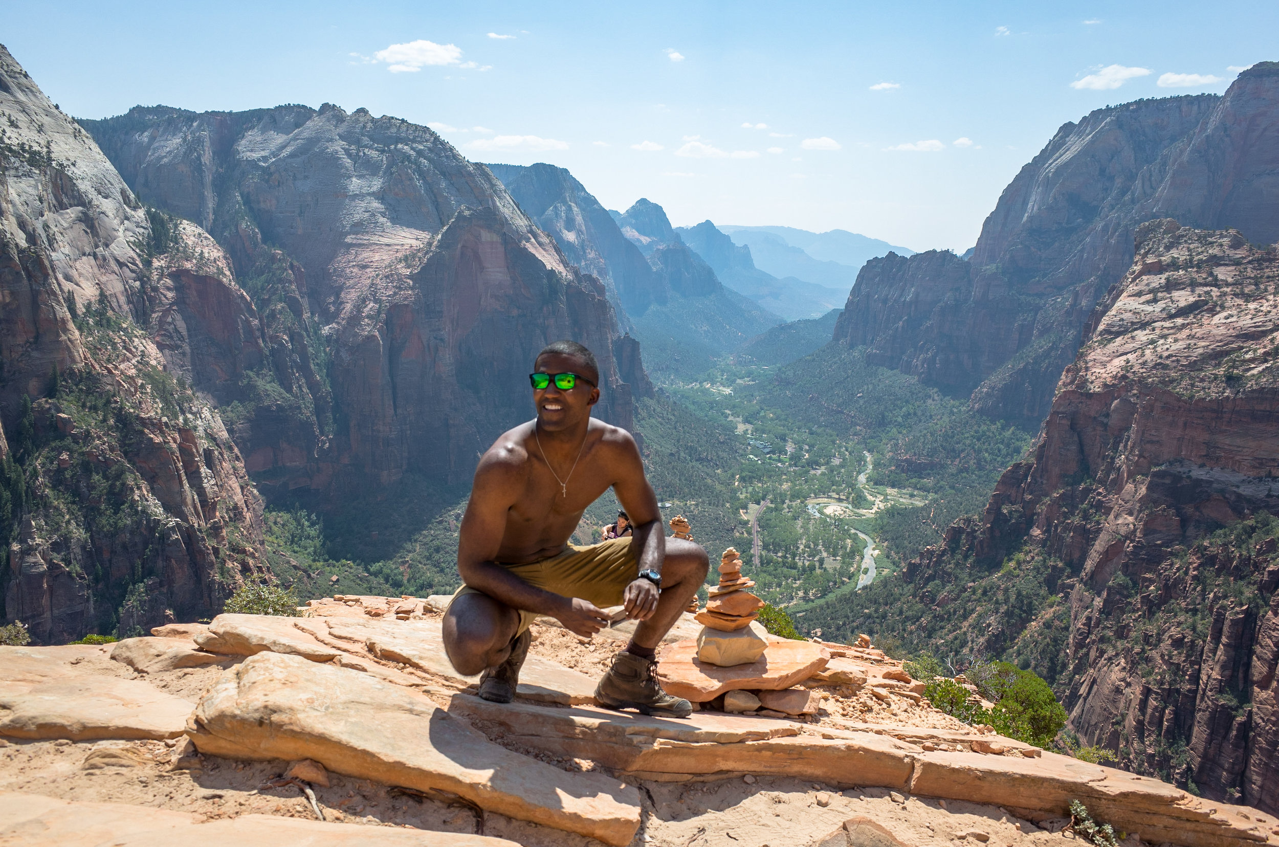 Bryce Mitchell catching some sun at the top of Angel's Landing.