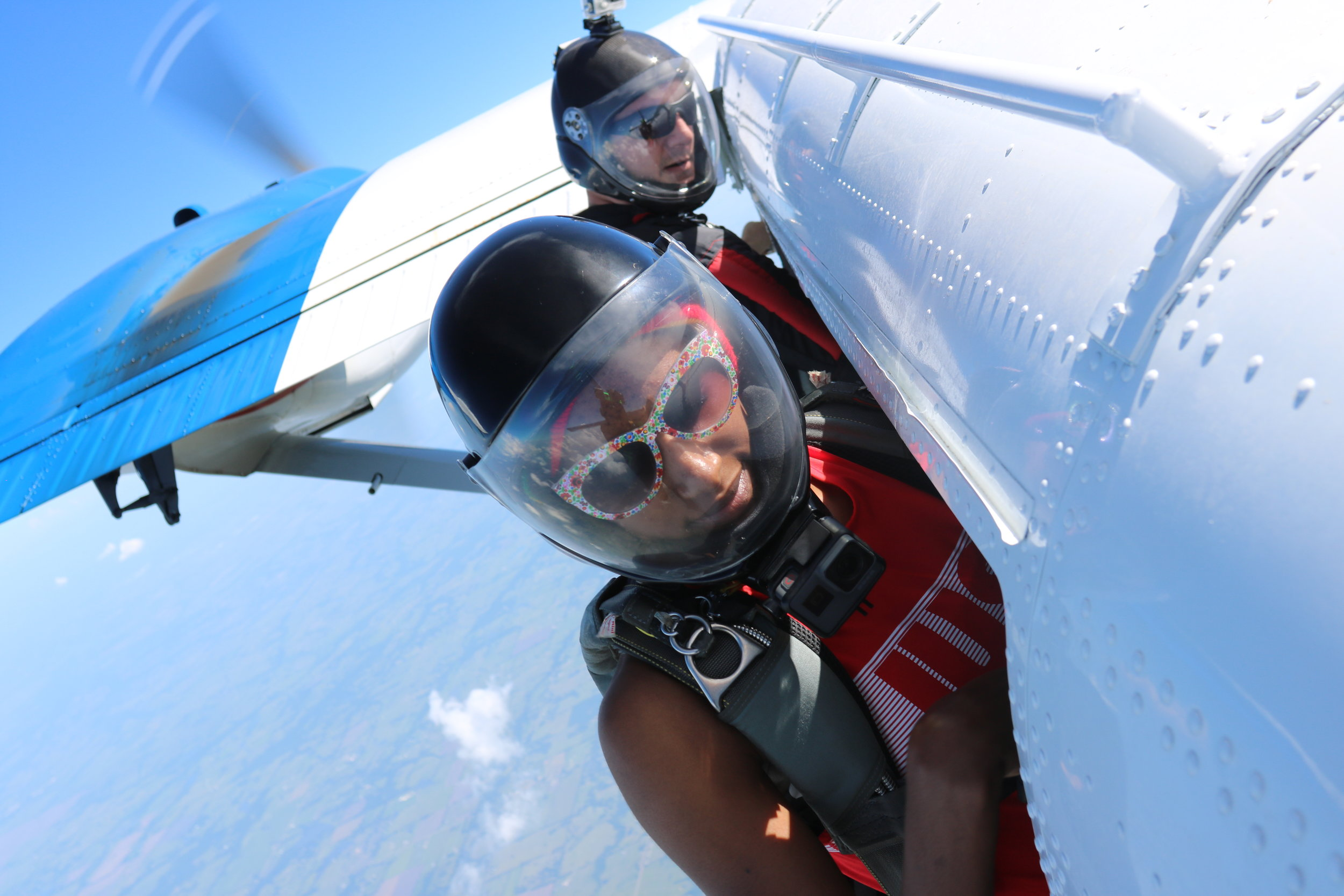 Skydivers prepare to exit a Twin Otter aircraft over Skydive Dallas. Photograph courtesy of David Ryder.