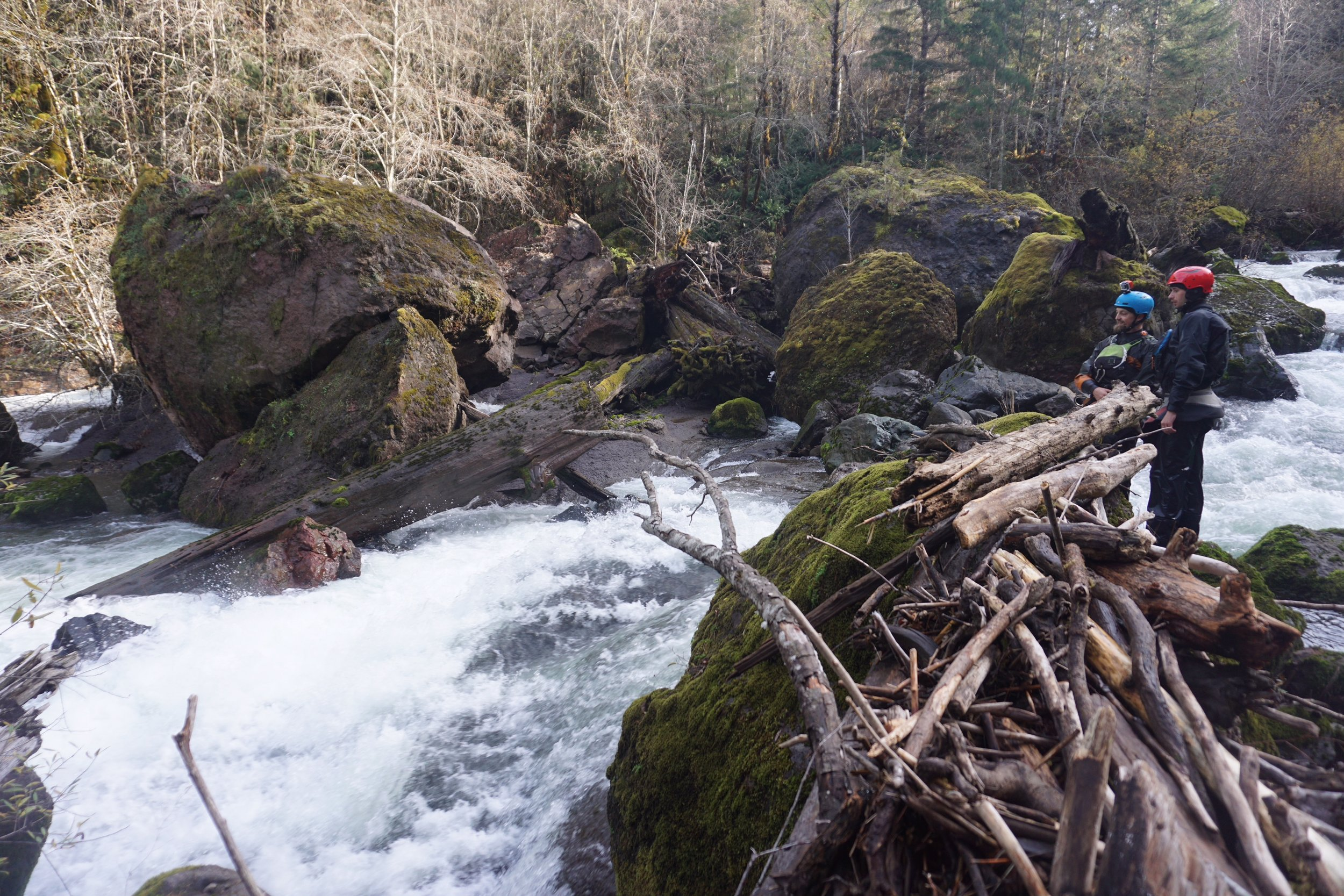 Scouting a rapid in Canyon Creek, Oregon. Photo courtesy of Adam Edwards.