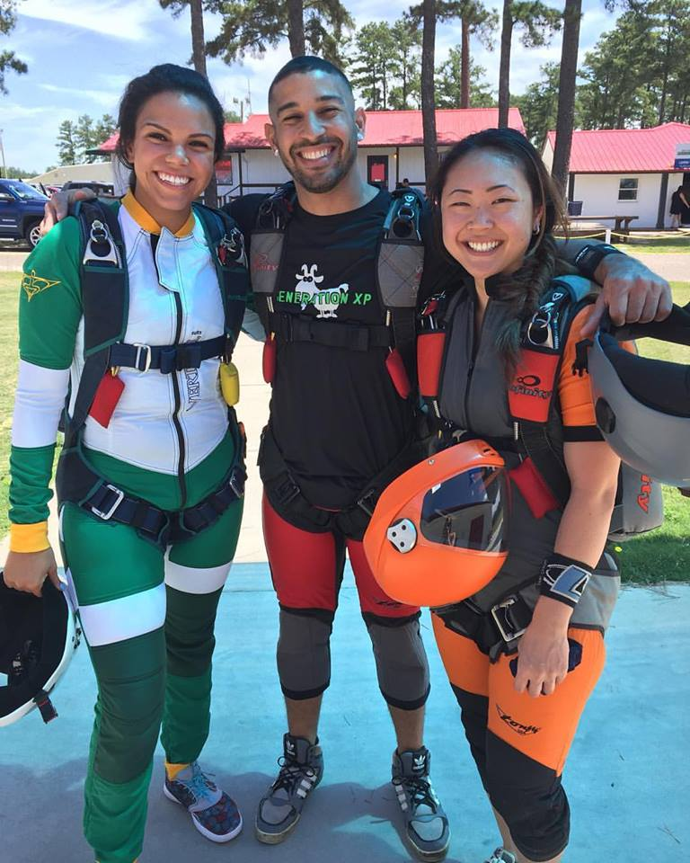 That instantaneous bond when you meet another woman skydiver! Nadia Mercado jumps with friends in North Carolina (Photo credit: unknown)
