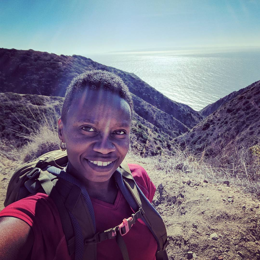 Author Tiffany McClain at the summit of the Garden-to-Sky trail on Catalina Island during her California trip.