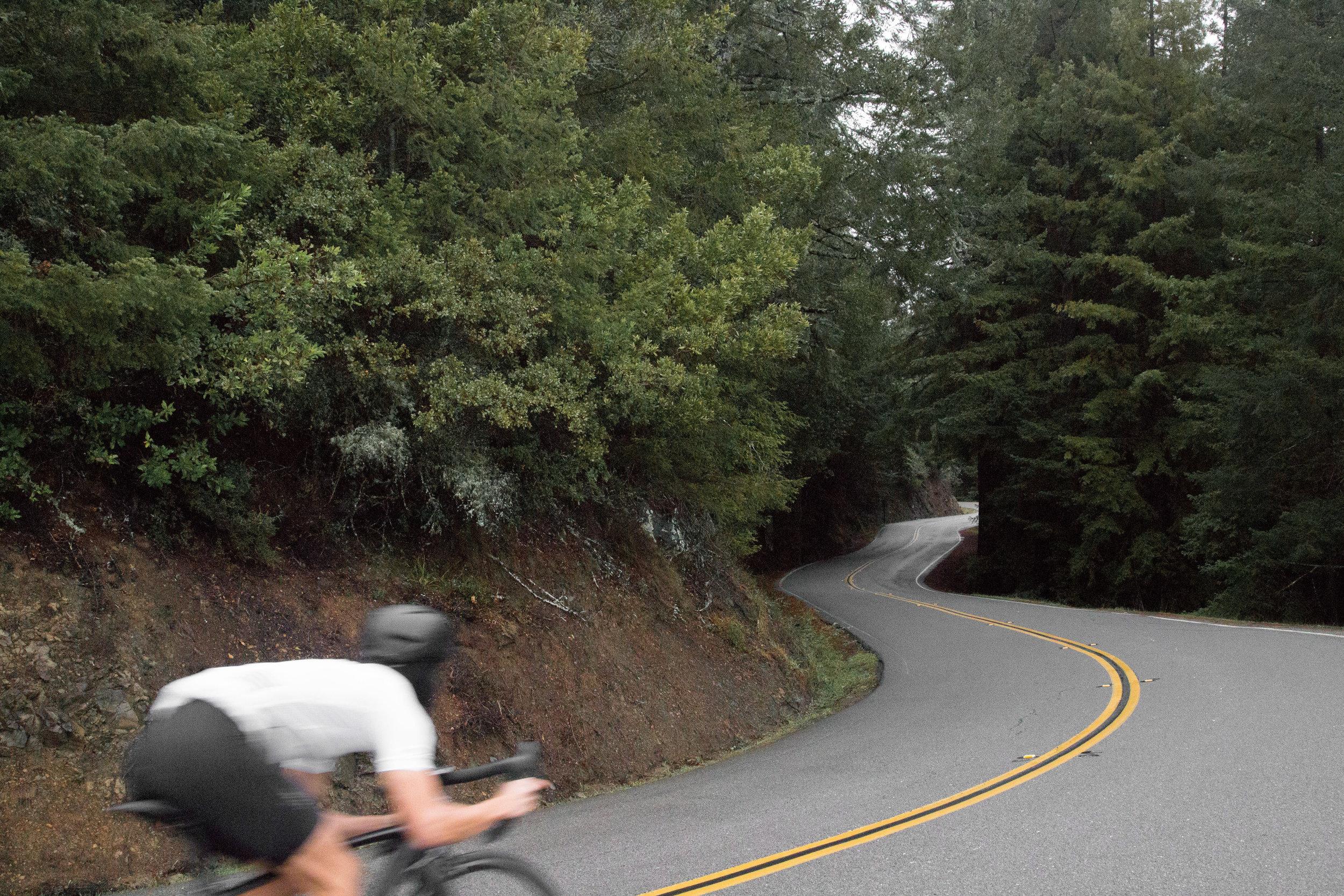 The author riding down Mt. Tamalpais.