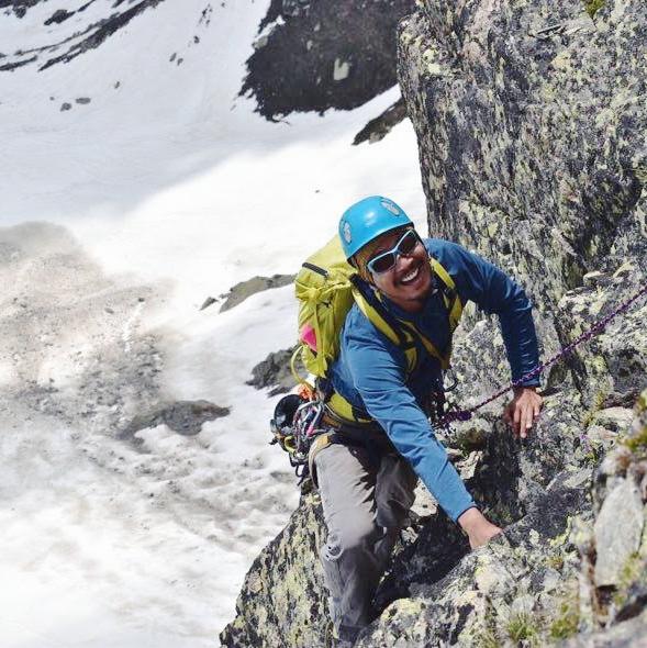 Author,  John Shin , climbing in SE Arete, Aguille d'Index, Chamonix