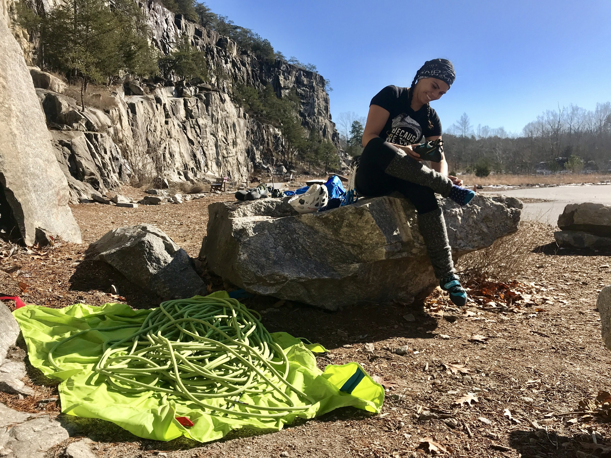 Climbing at Rockyface Mountain Recreation Area in Hiddenite, North Carolina