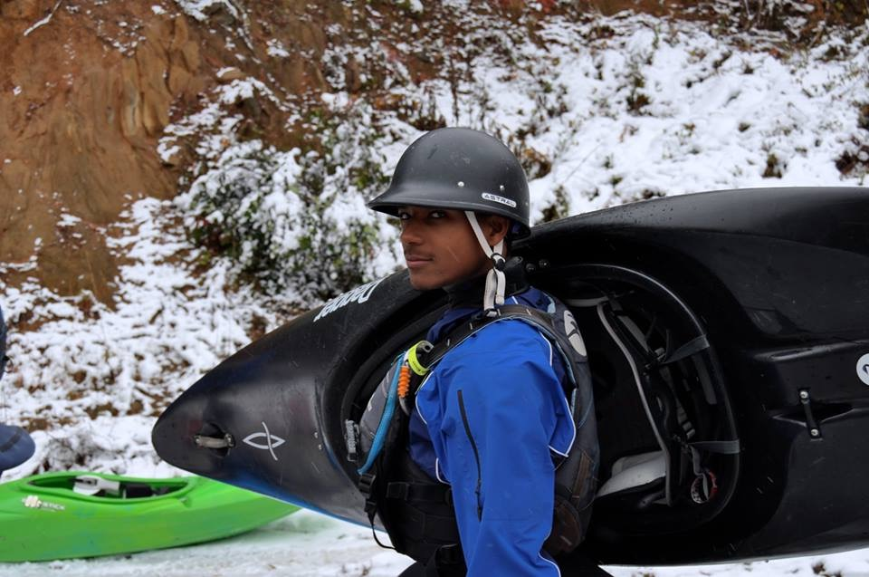 """Rashid Clifton, a 24 year old member of the Charlotte, North Carolina whitewater scene, shares his thoughts on what it's like being """"the only one""""(Photo credit: Rachael Hines)"""