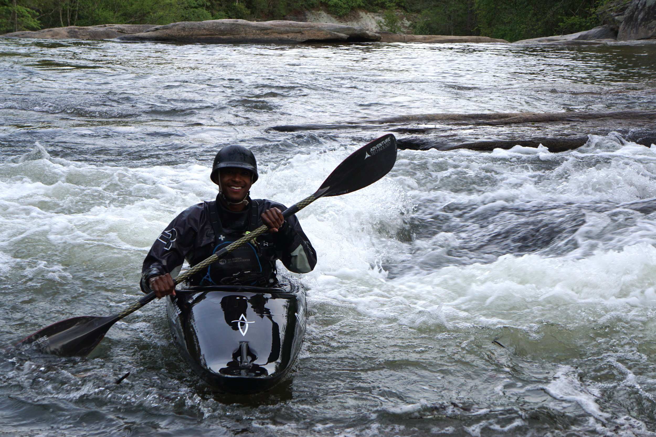Rashid taking his RPM [radical play machine] out for a spin on the Flat Shoals river in SOuth Carolina. (Photo credit: Amber Popham)