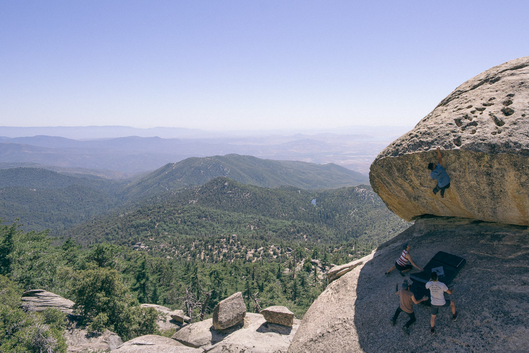 Once Upon A Time boulder sits high in the San Bernardino National Forest. Photo courtesy of Albert Cheng.