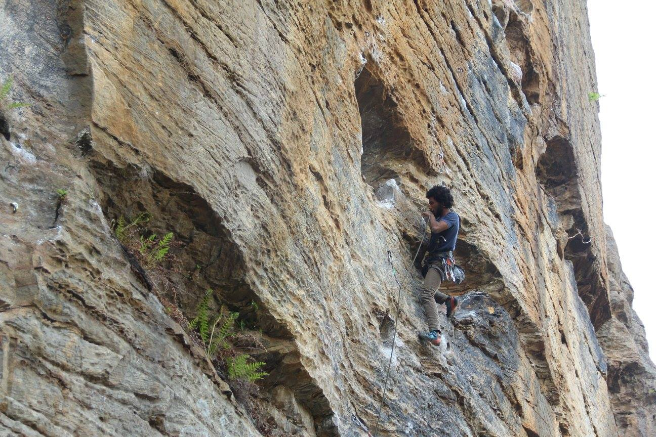 Photo of Justin sport climbing in the Red River Gorge, Slade, Kentucky  (Photo credit: Justin Forrest Parks)