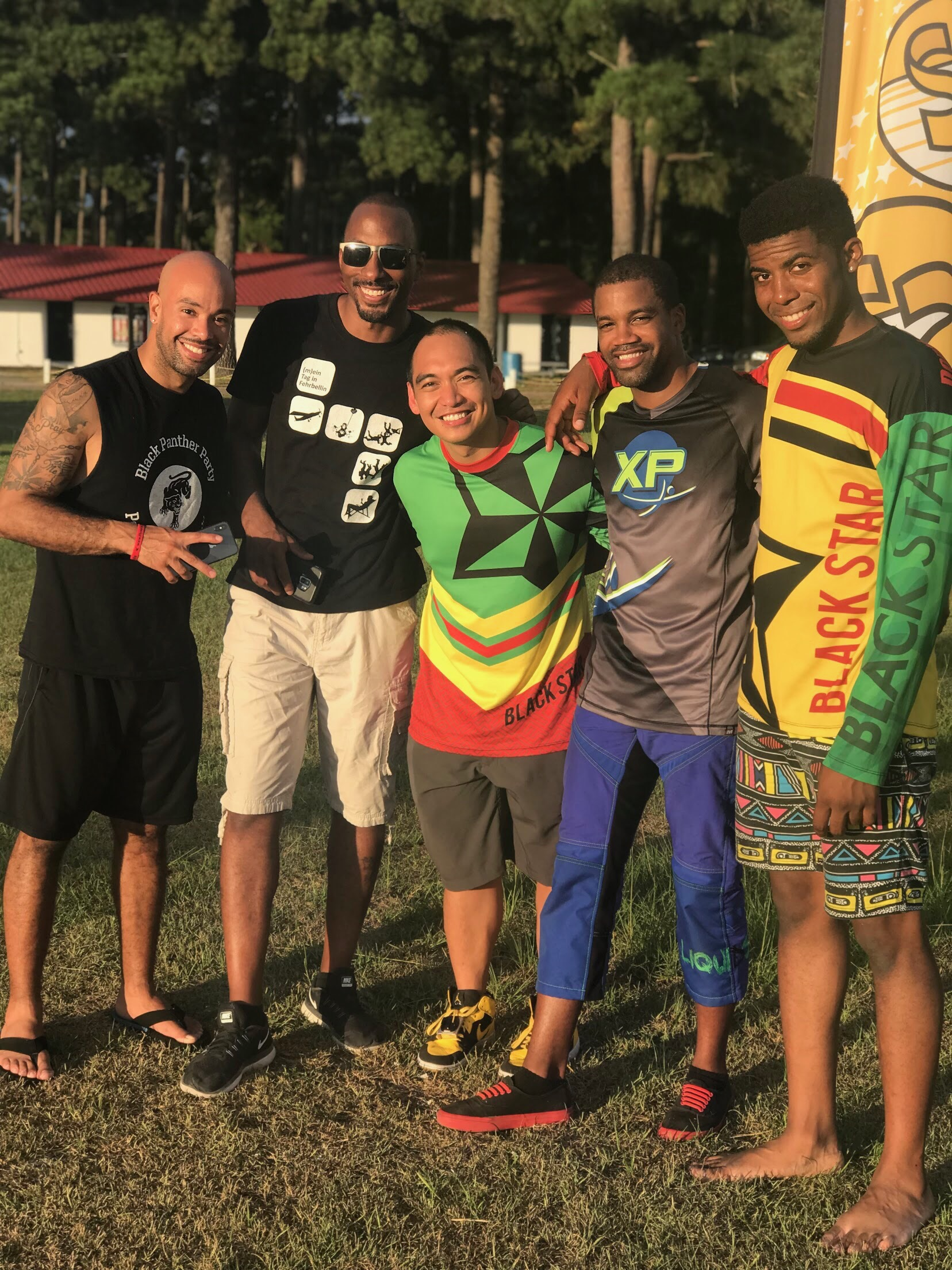 Nick (2nd from right) poses for a photo along with Team Blackstar skydivers at a recent meet-up in North Carolina.  Photo credit: Danielle Williams
