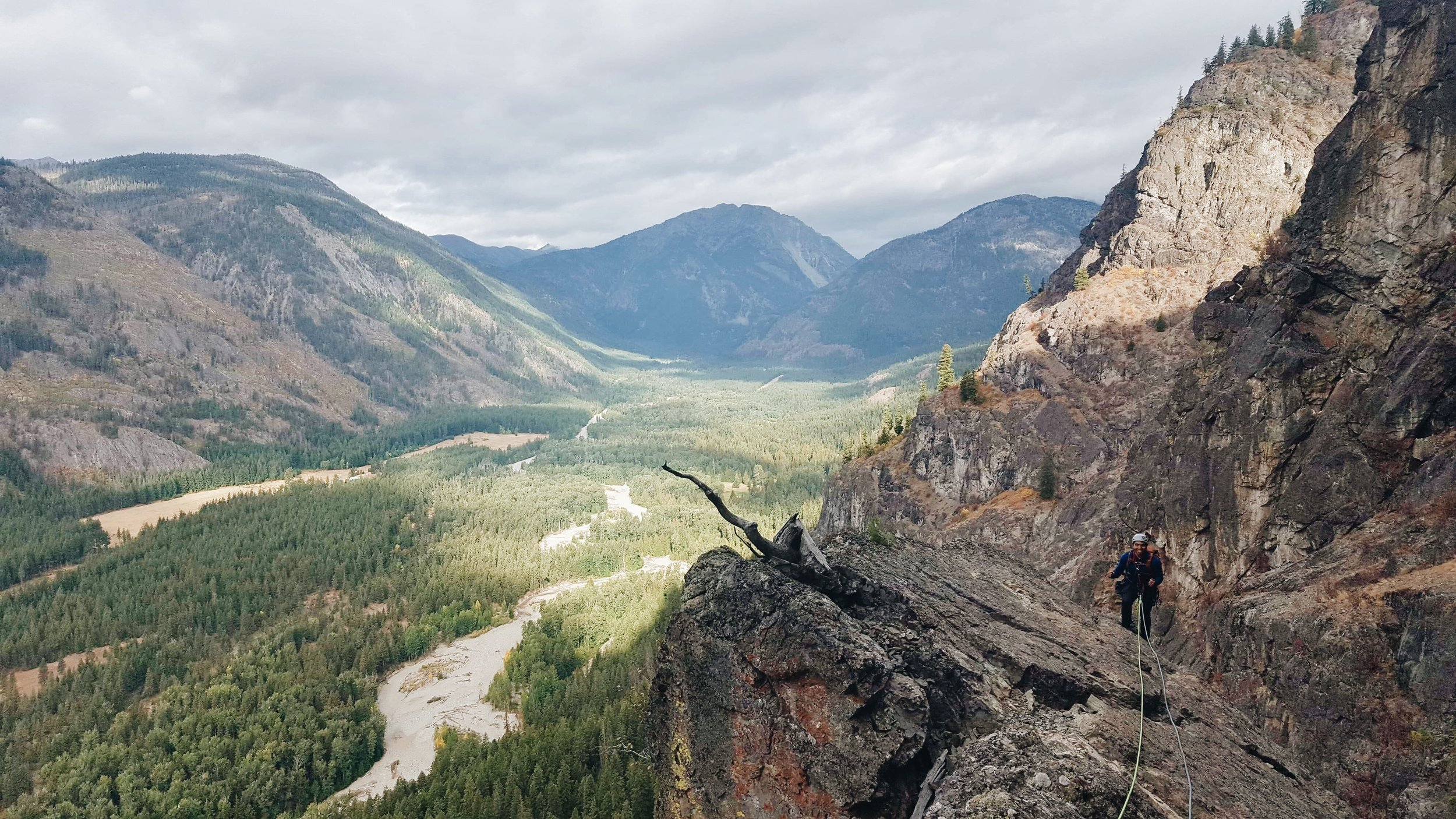 The author 400' feet up the route, after completing the airy traverse climbing in Mazama, WA.