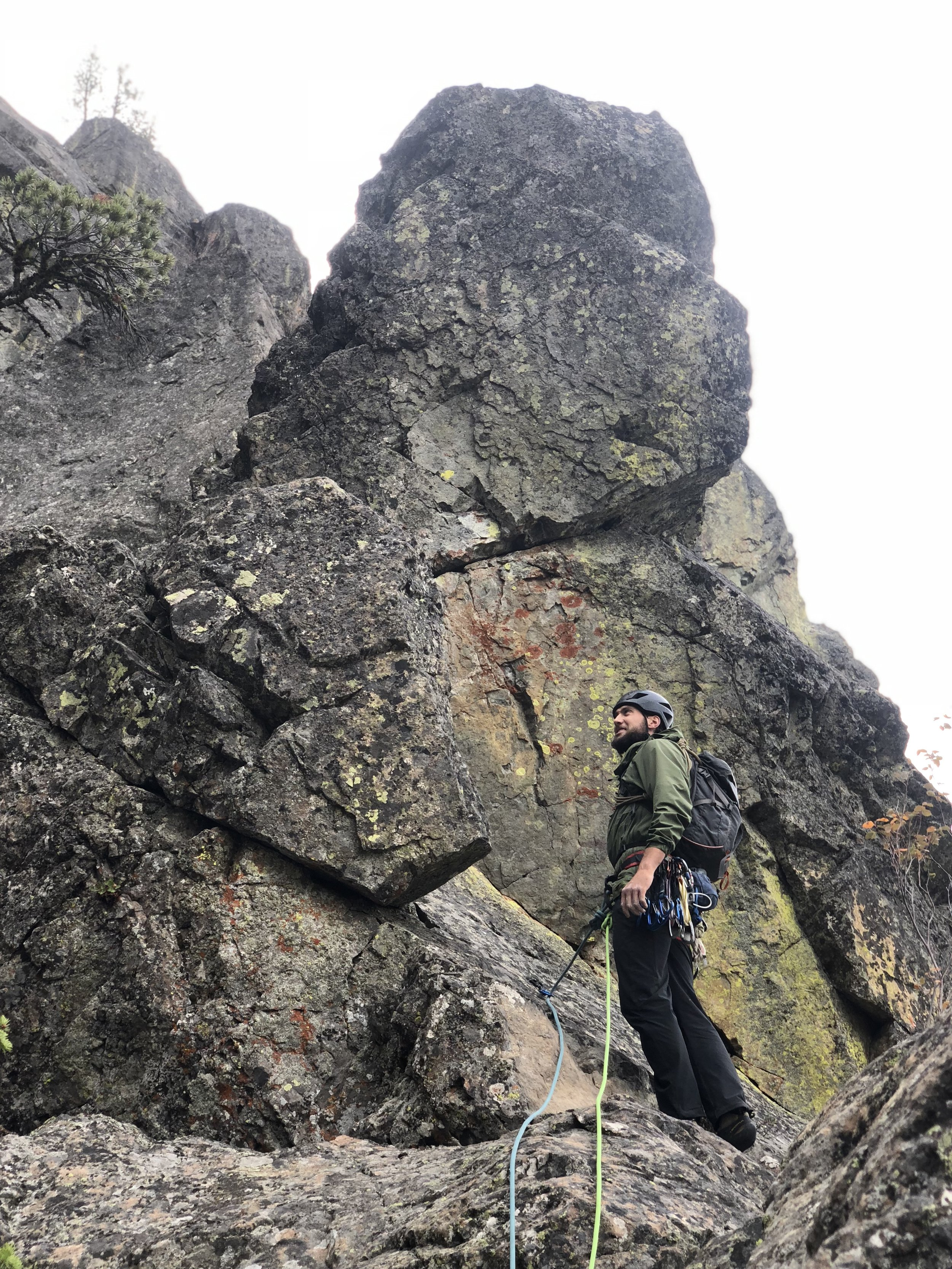 Ben looking up the route, half way done with Flyboys.