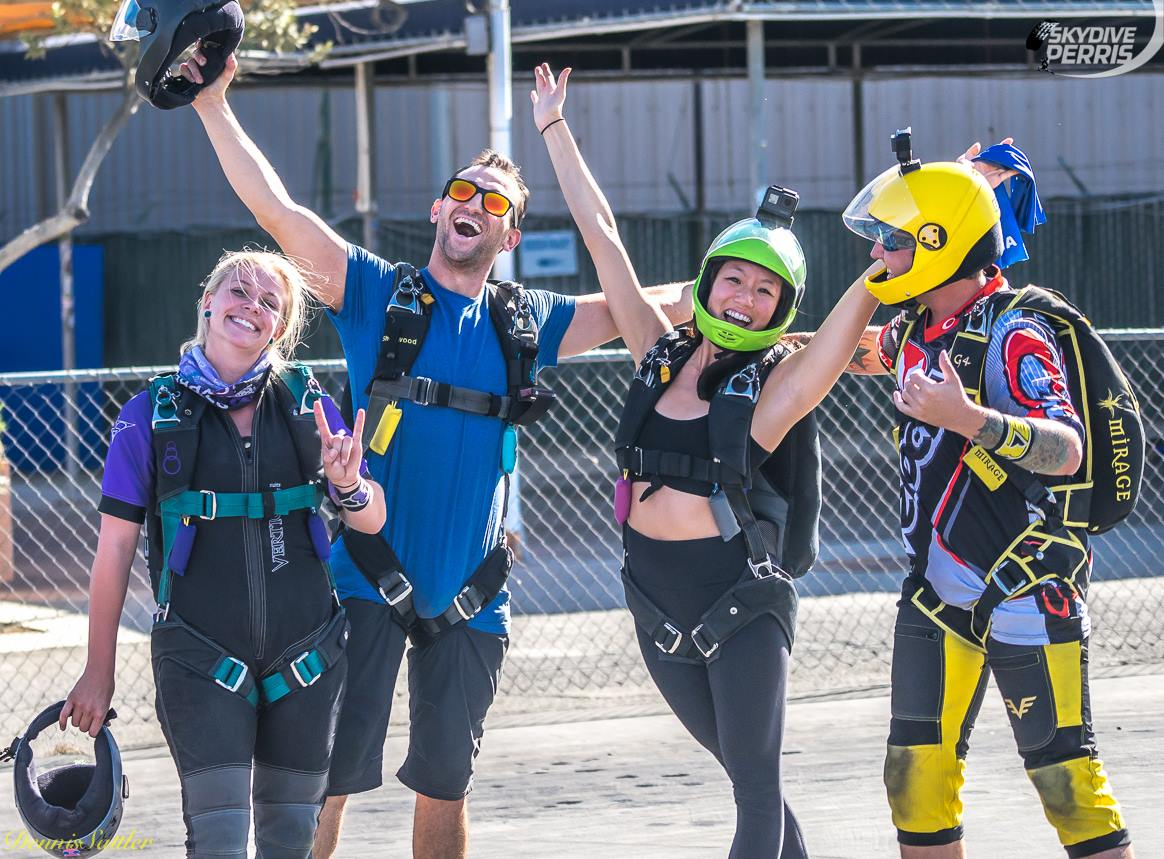 About to board the plane with sweet friends at Skydive Perris in California.  Photo credit:    Dennis Sattler   .