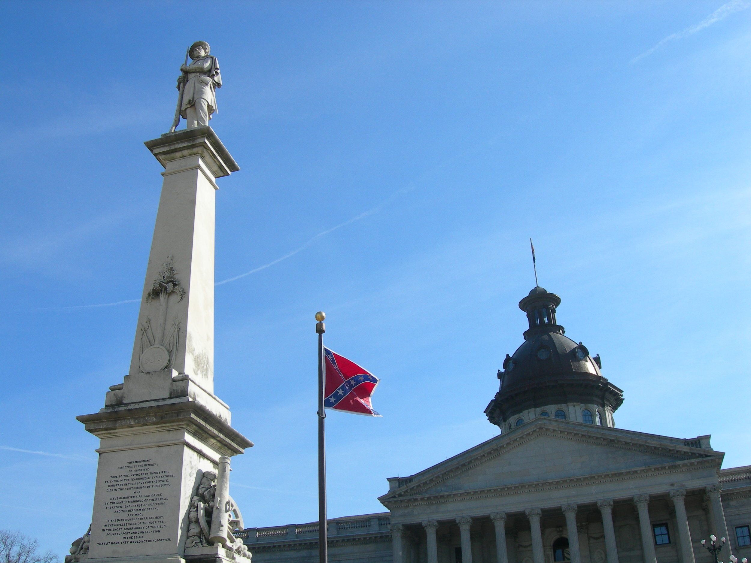 Image of the South Carolina Statehouse taken in 2007. The Confederate flag was removed from the Statehouse in 2015 after nine black parishioners were murdered in a mass shooting in Charleston.  Photo courtesy of Jimmy Emerson.
