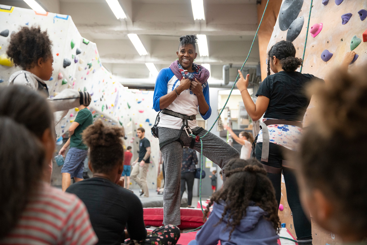 "Emily Taylor  is a queer Black woman leading a grassroots movement at the  ""intersection of race and climbing culture""  according to a recent article from Brown Girls Climb.  Photo courtesy of    Megan Allen."