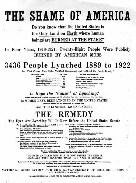 This is a flyer created by the NAACP in 1922 to raise awareness about the lynching epidemic that was occurring and the proposed Dyer anti-lynching bill. 22 November 1922.  Photo courtesy of NYTimes.