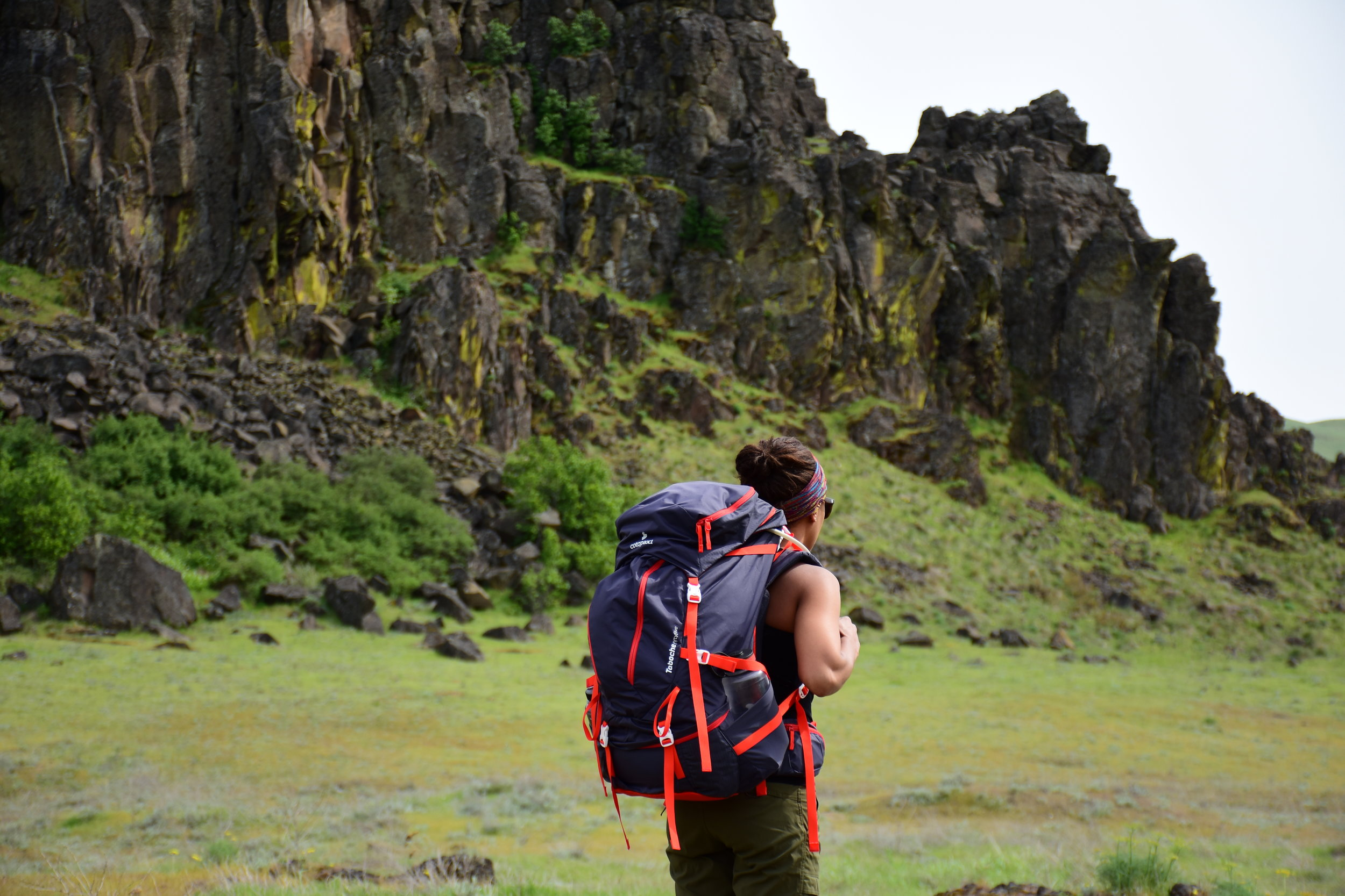 Testing the Cotopaxi Taboche 55L backpack during a hike at Horsethief Butte in the Columbia River Gorge on Yakama, Wasco and Wishram ancestral land.  Photo courtesy of Nathan Kaul
