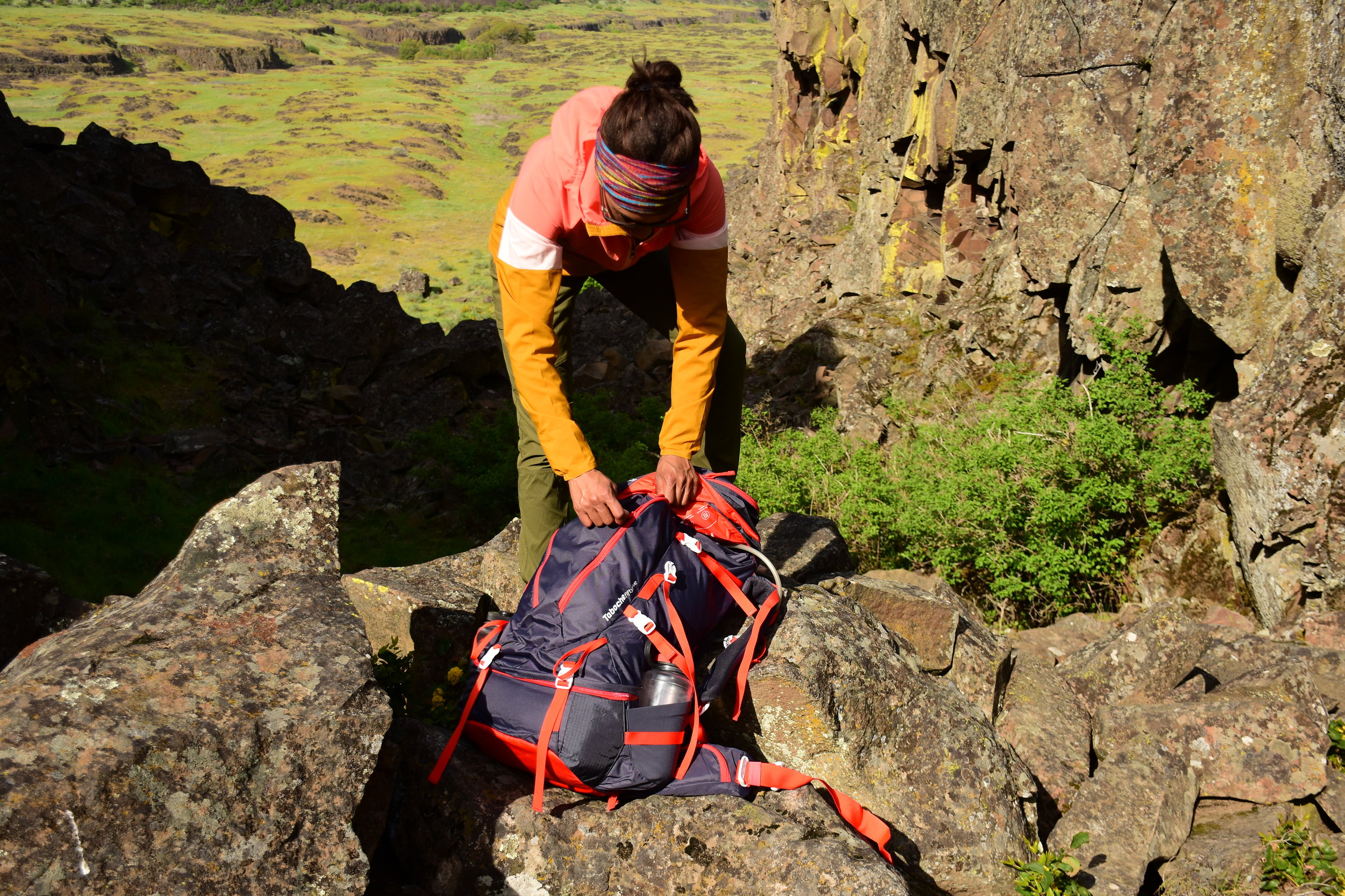 Grabbing gear from pack.  Photo courtesy Nathan Kaul
