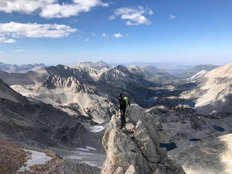 Climbing partner on the ridge of Bear Creek Spire, Eastern Sierras, CA.