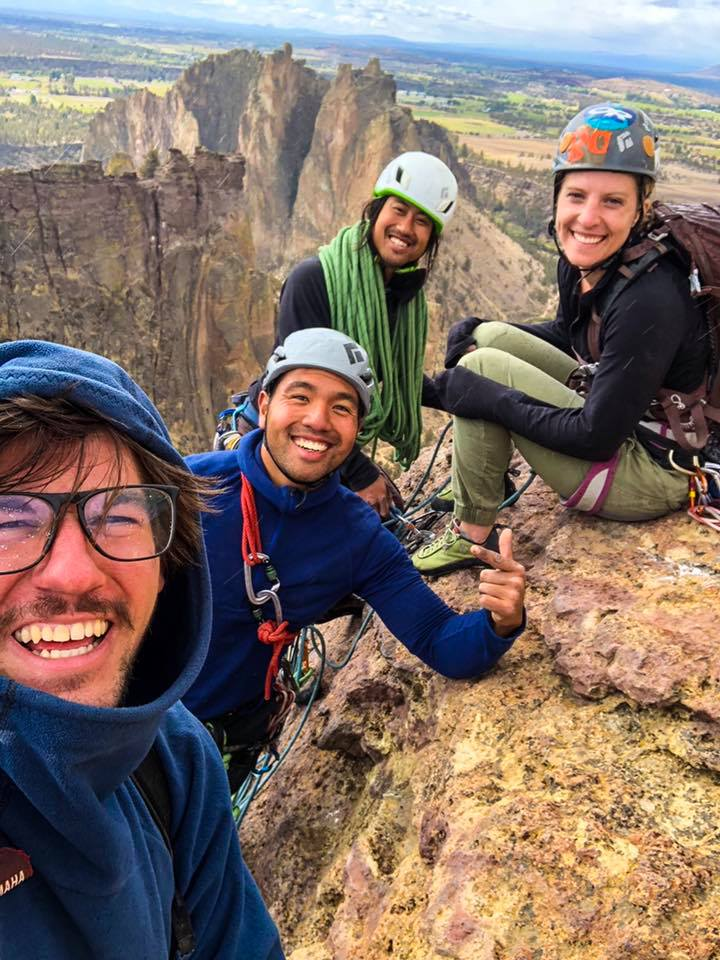 New climbing friends on the top of Monkey Face, Smith Rock OR.