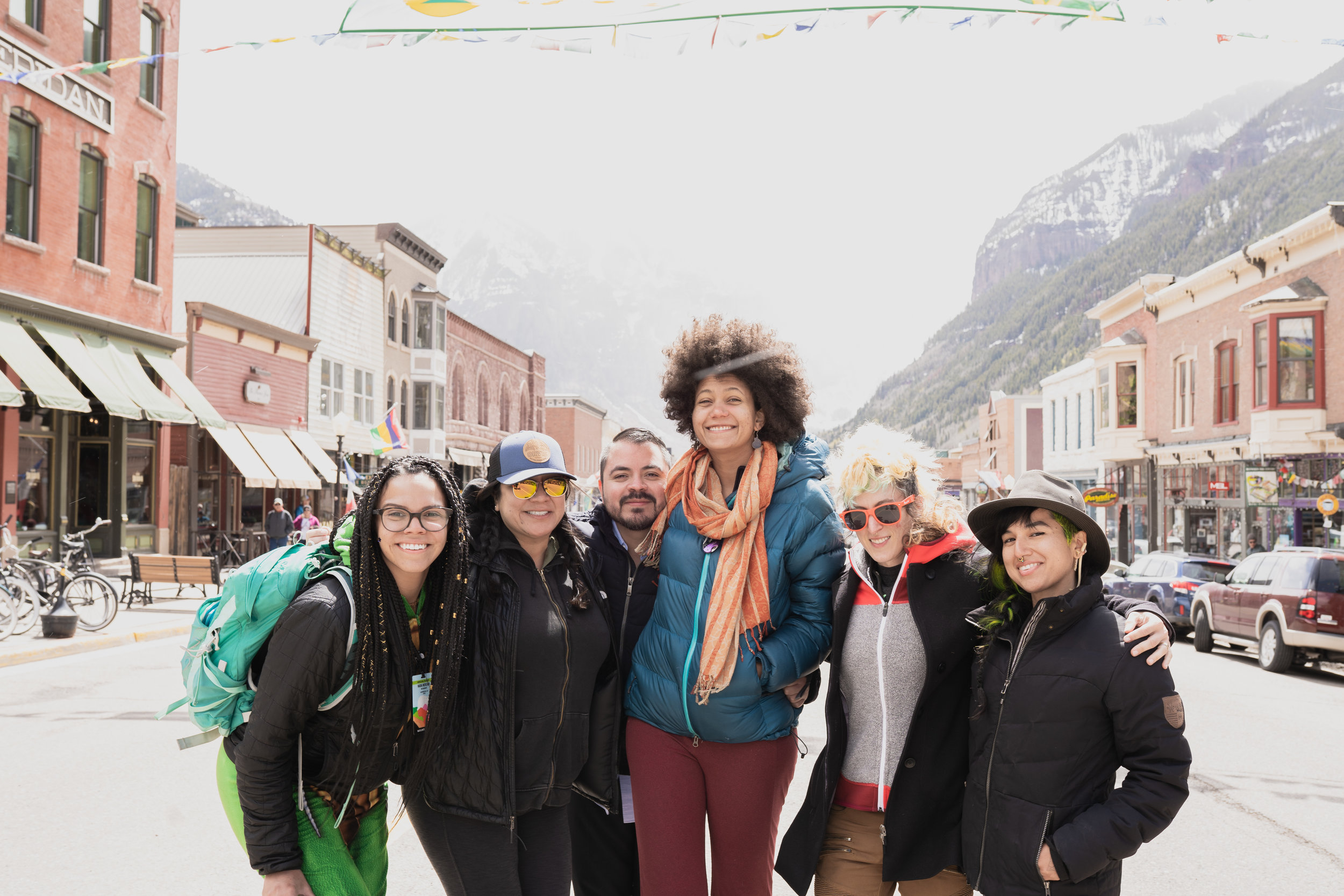 Mendiola (3rd from left) is pictured with friends at Mountainfilm in Telluride, CO. Photo courtesy of  Adam Snyder .
