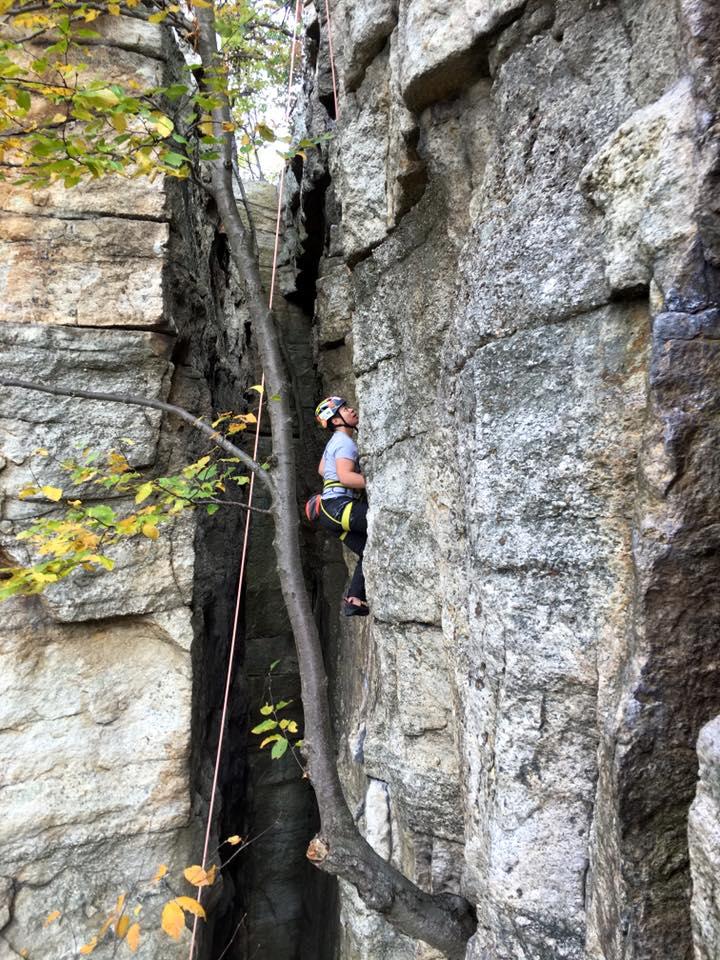 Via Abolencia climbs Psycho Wall.  Photo courtesy of Adam Karp