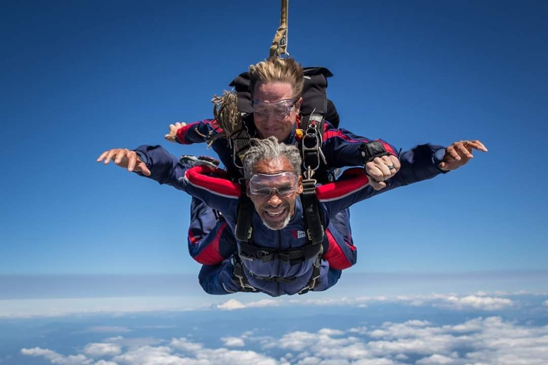 Rich Williams started skydiving in 1972 before taking a break for 35 years. After losing a daughter in a tragic plane crash in 2007, he began skydiving again, along with his wife. In this photo, he's pictured during a tandem skydive at Skydive Snohomish.  Photo courtesy of Rich Williams