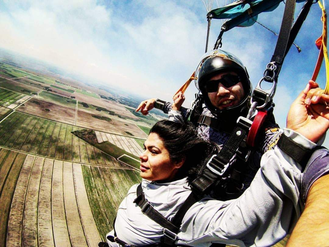 Dana Ramirez started skydiving in order to get out of her comfort zone and try something new. Her mother-in-law introduced her to the sport.  Photo courtesy of Dana Ramirez.