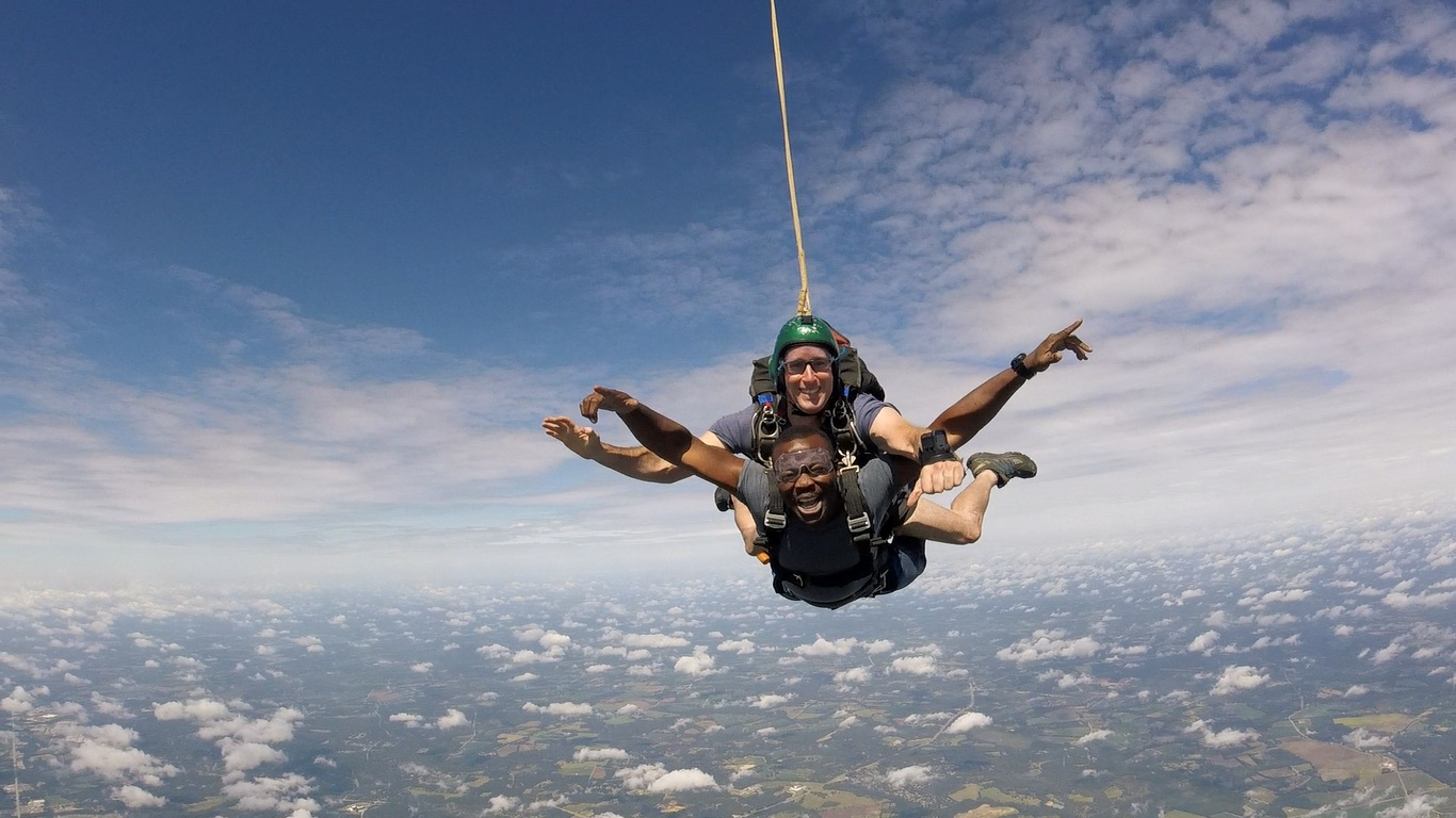 A tandem student enjoys his first skydive over Statesboro, GA.  Photo courtesy of    Will Middlebrooks