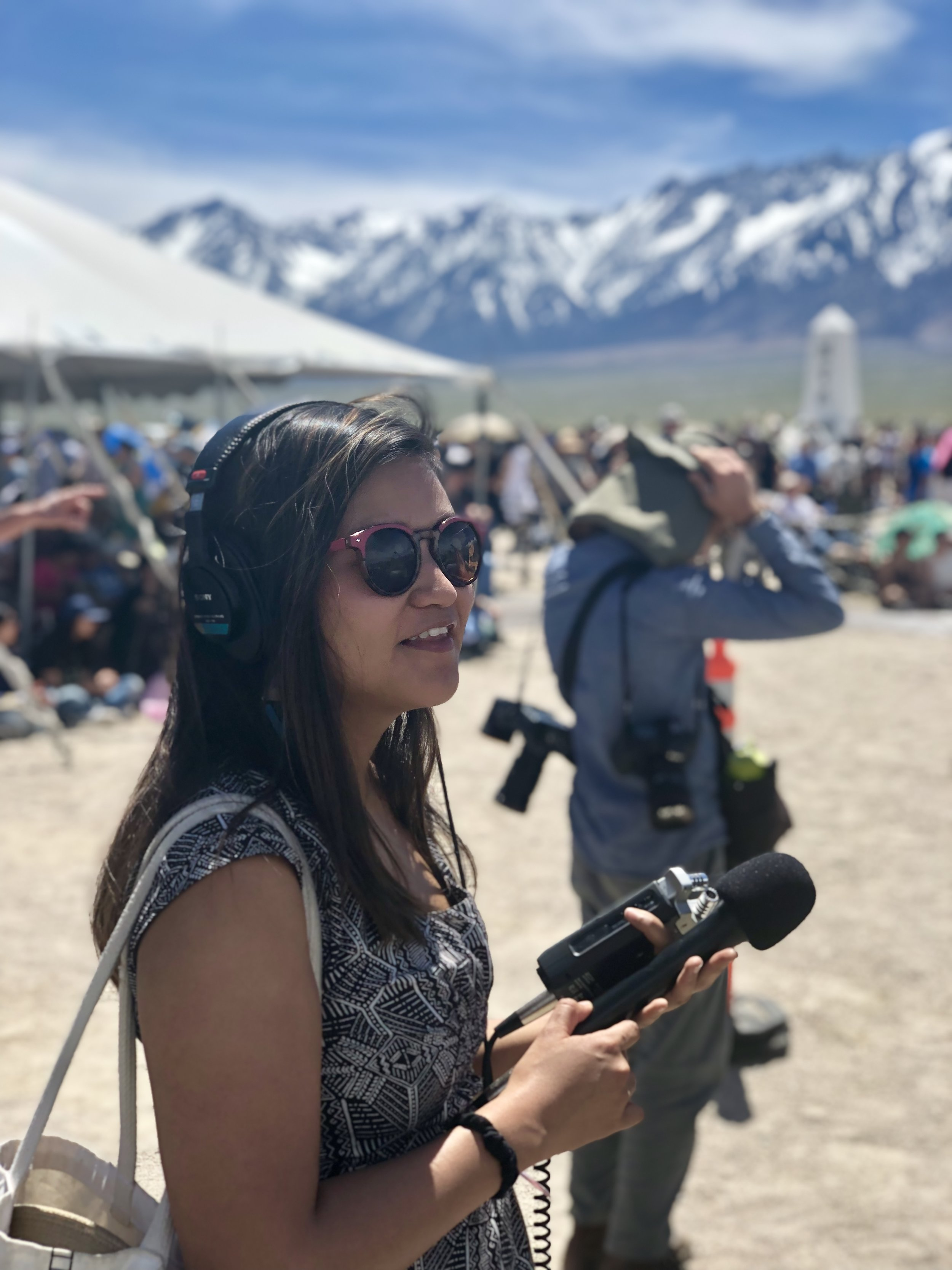 Sarah attends an annual remembrance event at Manzanar National Historical Site in Independence, California where Japanese American families were forcibly detained in internment camps during World War II. The site is located on Nüümü, and Shoshone land.  Photo courtesy of Kevin Keller