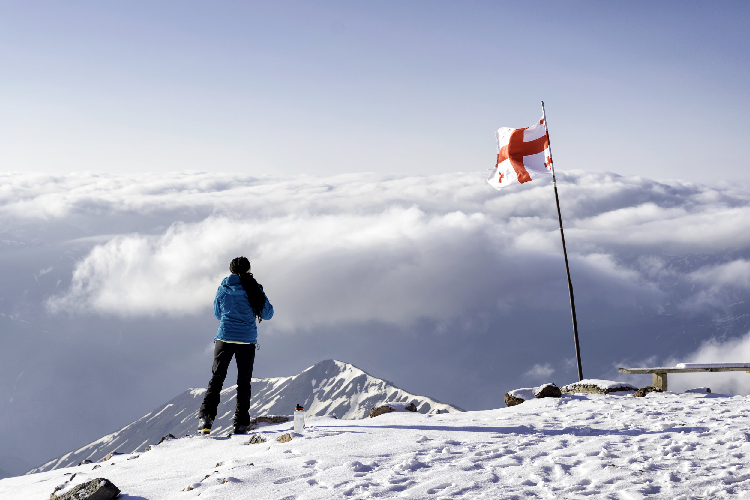 The author takes in the view from high camp on Mt. Kazbek.  Photo courtesy of Alper Gunay