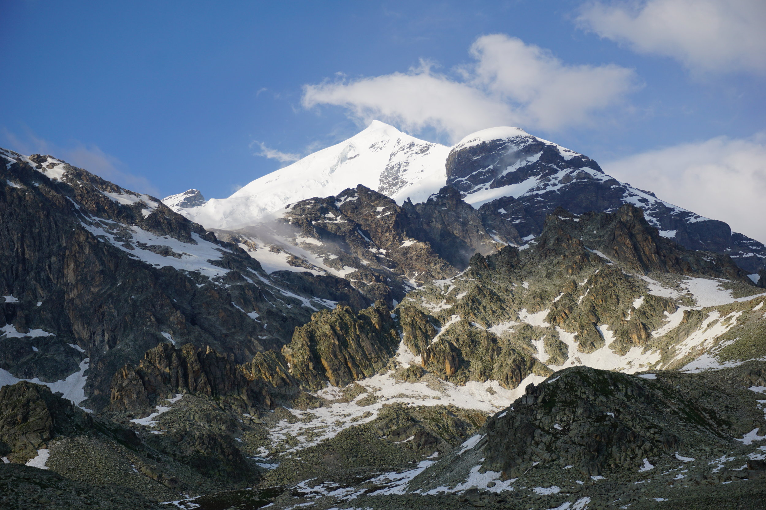 The snow and ice-capped peak of Mt. Tetnuldi (15,938 ft).  Photo courtesy of Rebecca Ross